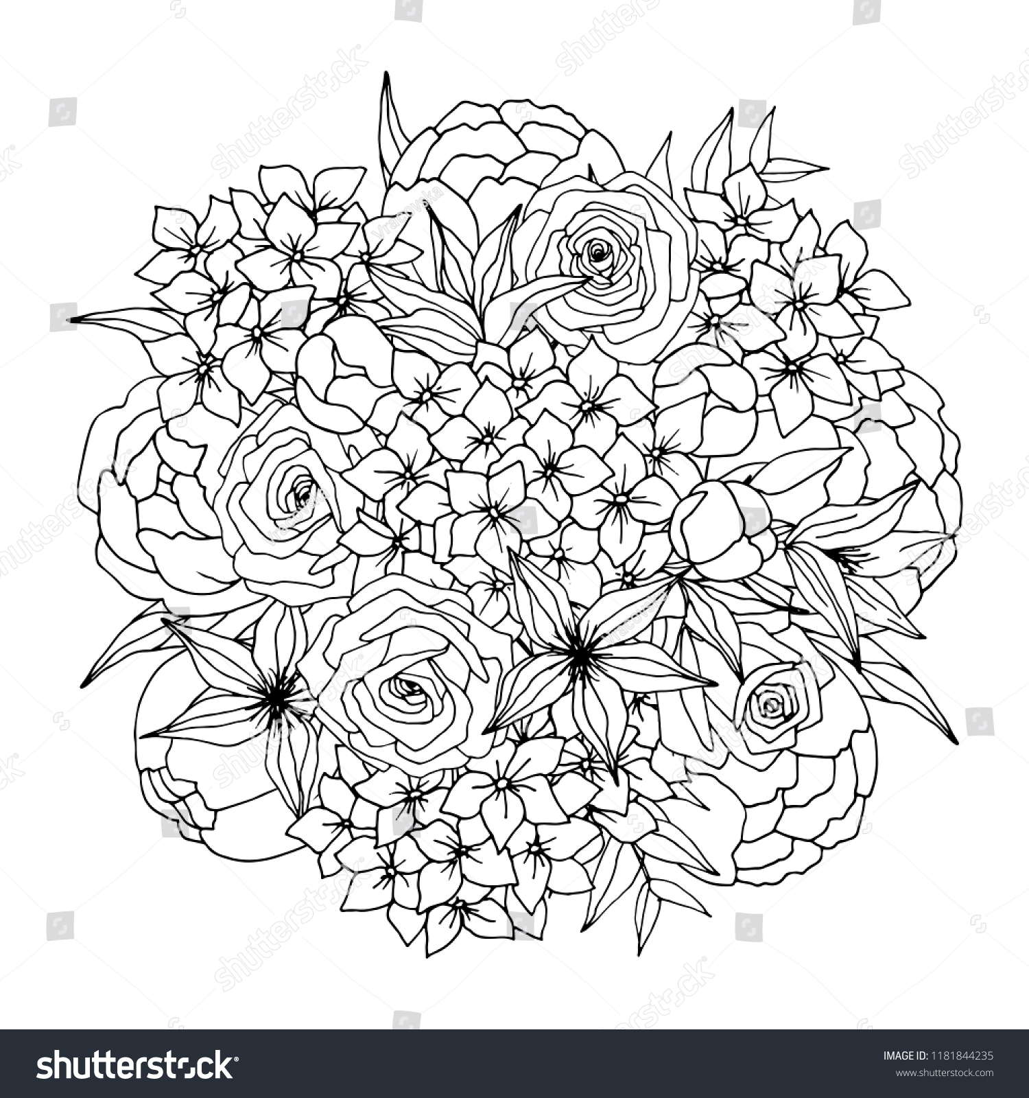 Fantasy flowers coloring page Royalty Free Vector Image | 1600x1500