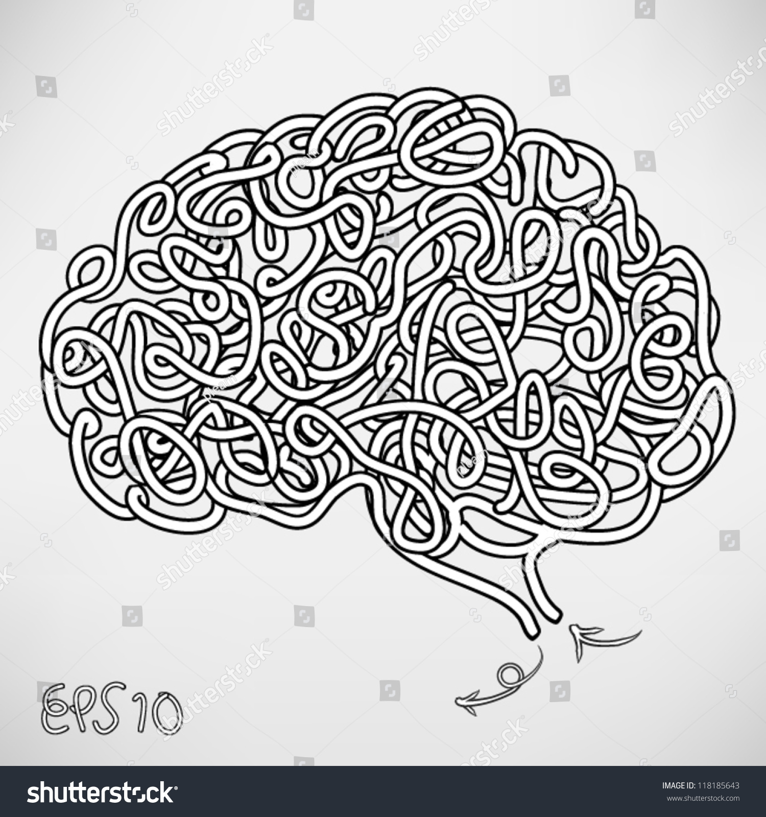 The human brain coloring book diamond - Hand Drawn Brain A Thinking Human Concept Eps10 Vector Background