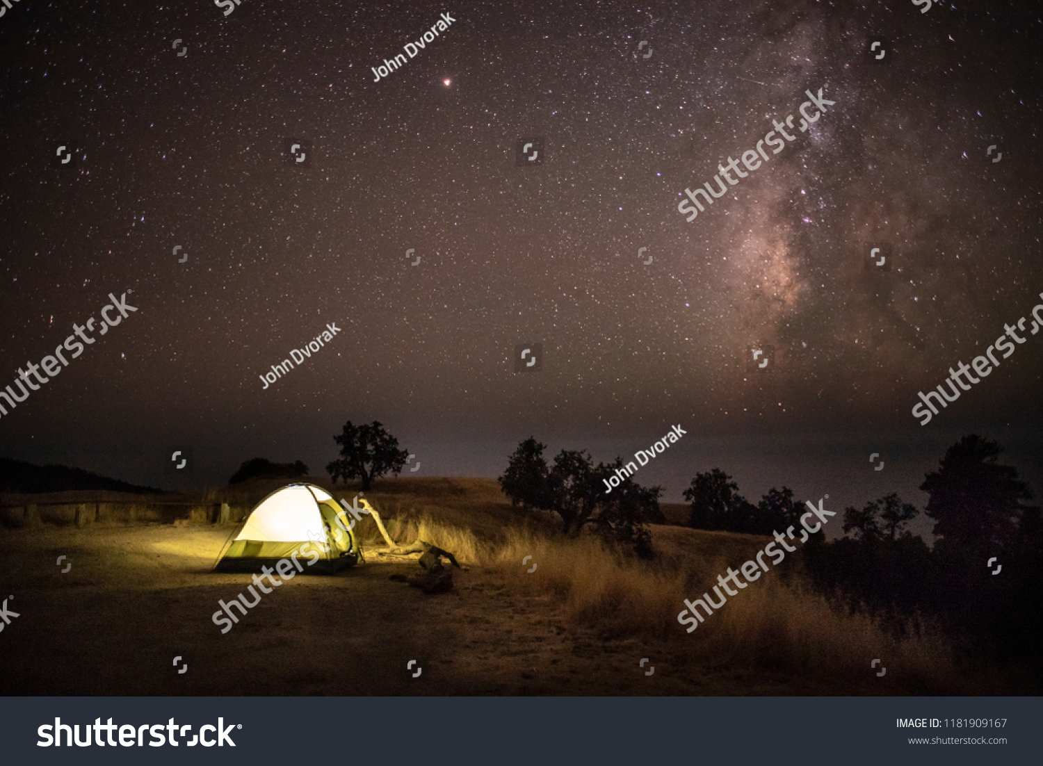 Illuminated Tent Under Dark Sky Stars Stock Photo (Edit Now) 1181909167