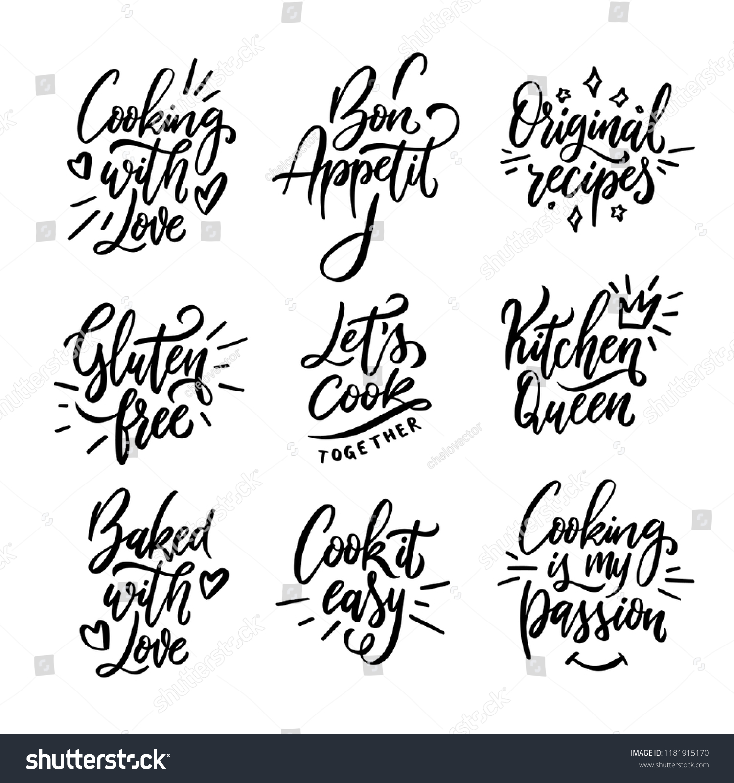 Cooking Related Quotes Collection Hand Drawn Stock Vector Royalty