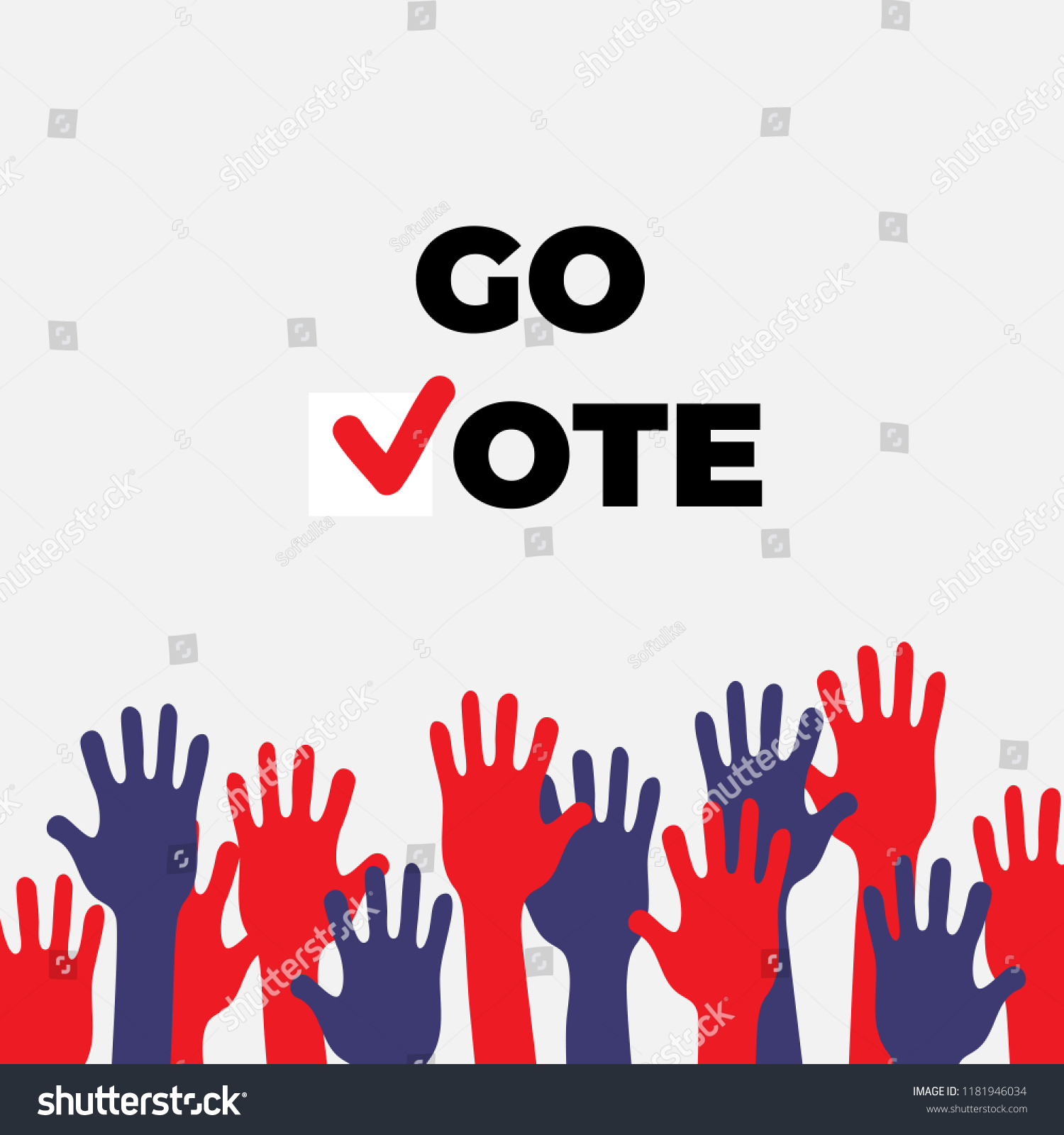 Go Vote Poster Template Isolated Hands Stock Vector Royalty Free