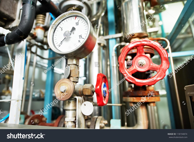 Closeup Manometer Pipes Faucet Valves Heating Stock Photo (Royalty ...