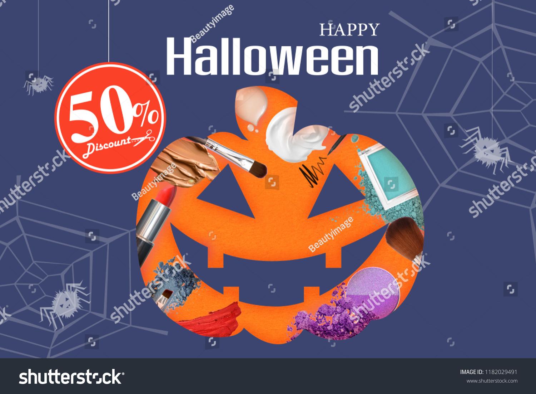 Make Skincare Cosmetics Pumpkin Silhouette Promotion Stock Photo Edit Now 1182029491