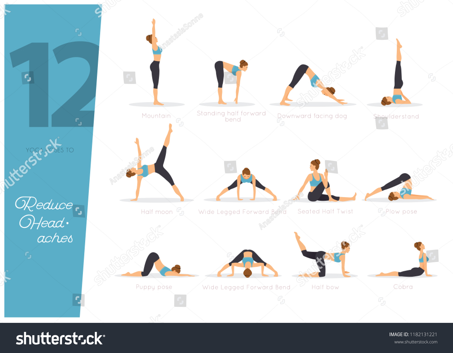 4 Yoga Poses Reduce Headaches Stock Vector (Royalty Free) 118213421