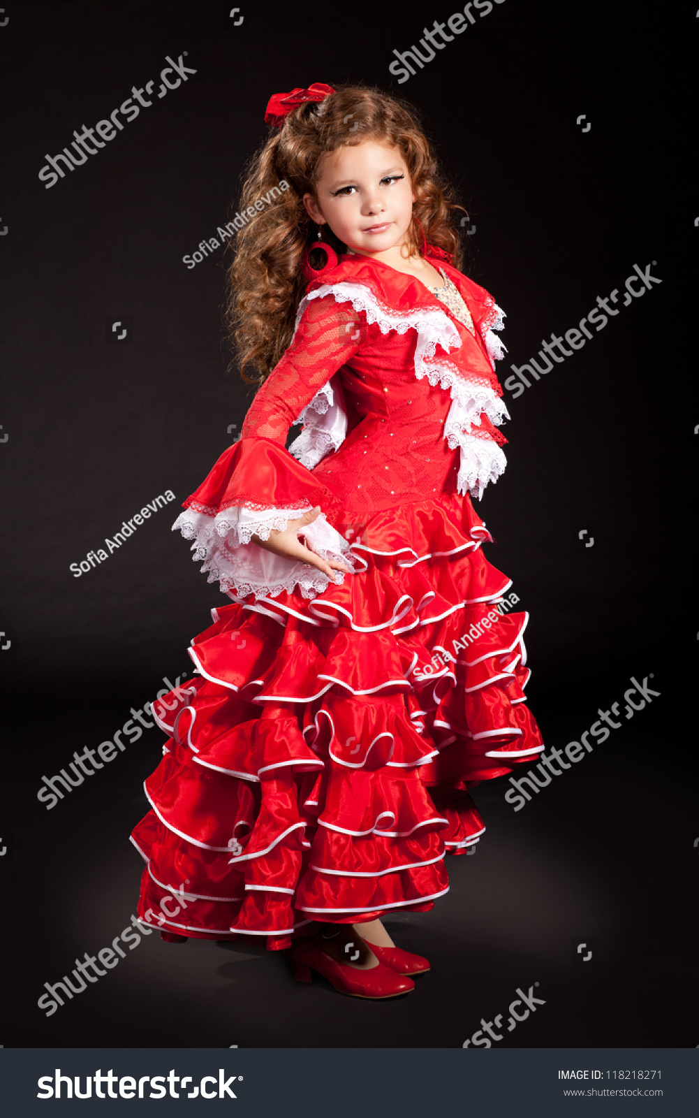 0d05870ab7f9 toddler little girl dancing flamenco in traditional spanish red dress. Adorable  child from Andalusia with