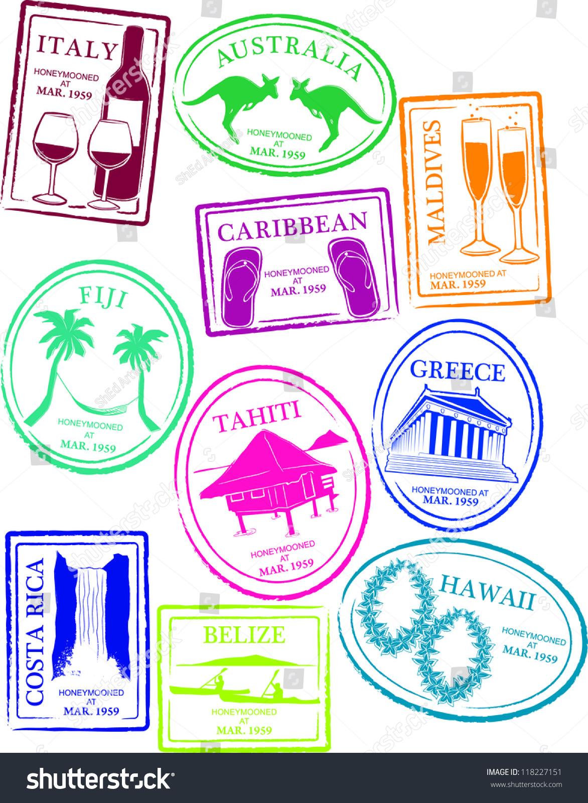 Retro Honeymoon Passport Stamps Vector Illustration Stock ...