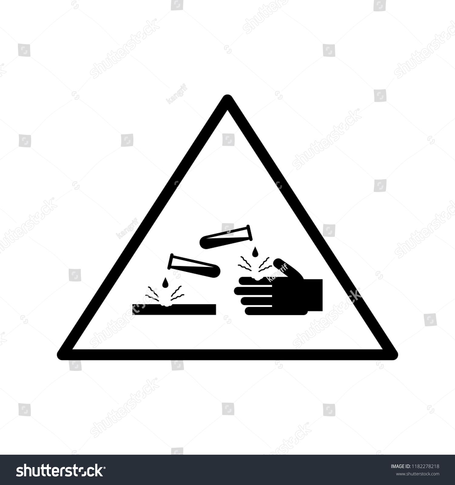 Corrosive Material Warning Symbol Icon Vector Stock Vector Royalty