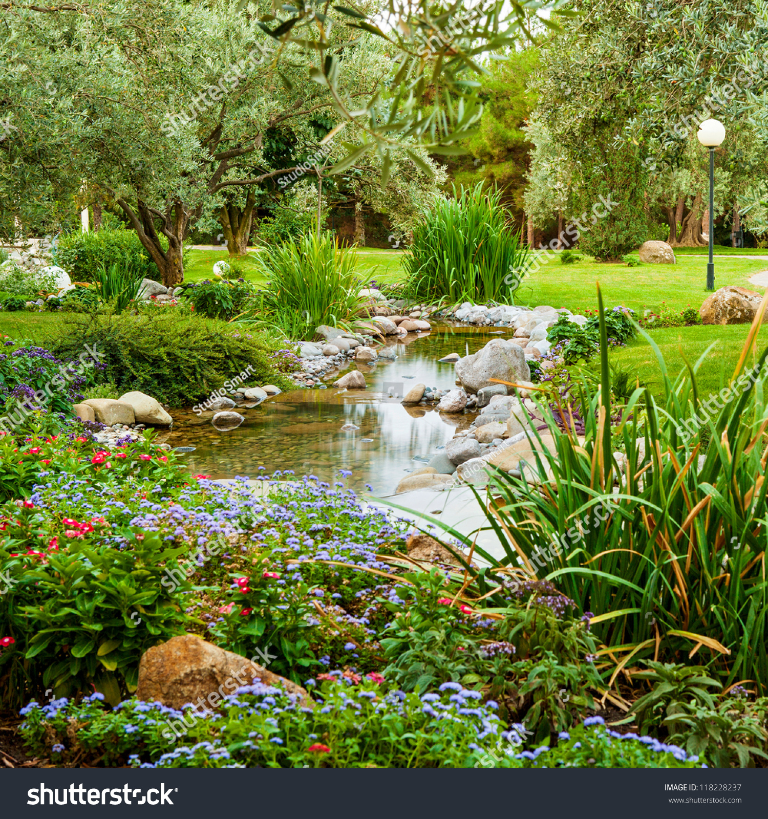 Spring Flowers Asian Garden Pond Stock Photo 118228237