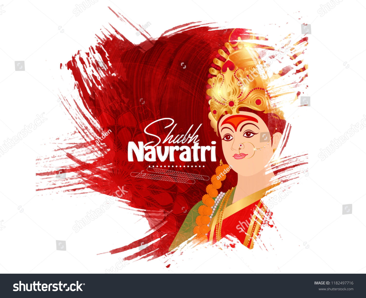 Illustration Of Happy Navratri greeting Card Design With Beautiful Maa Durga Face On Grunge background. #1182497716
