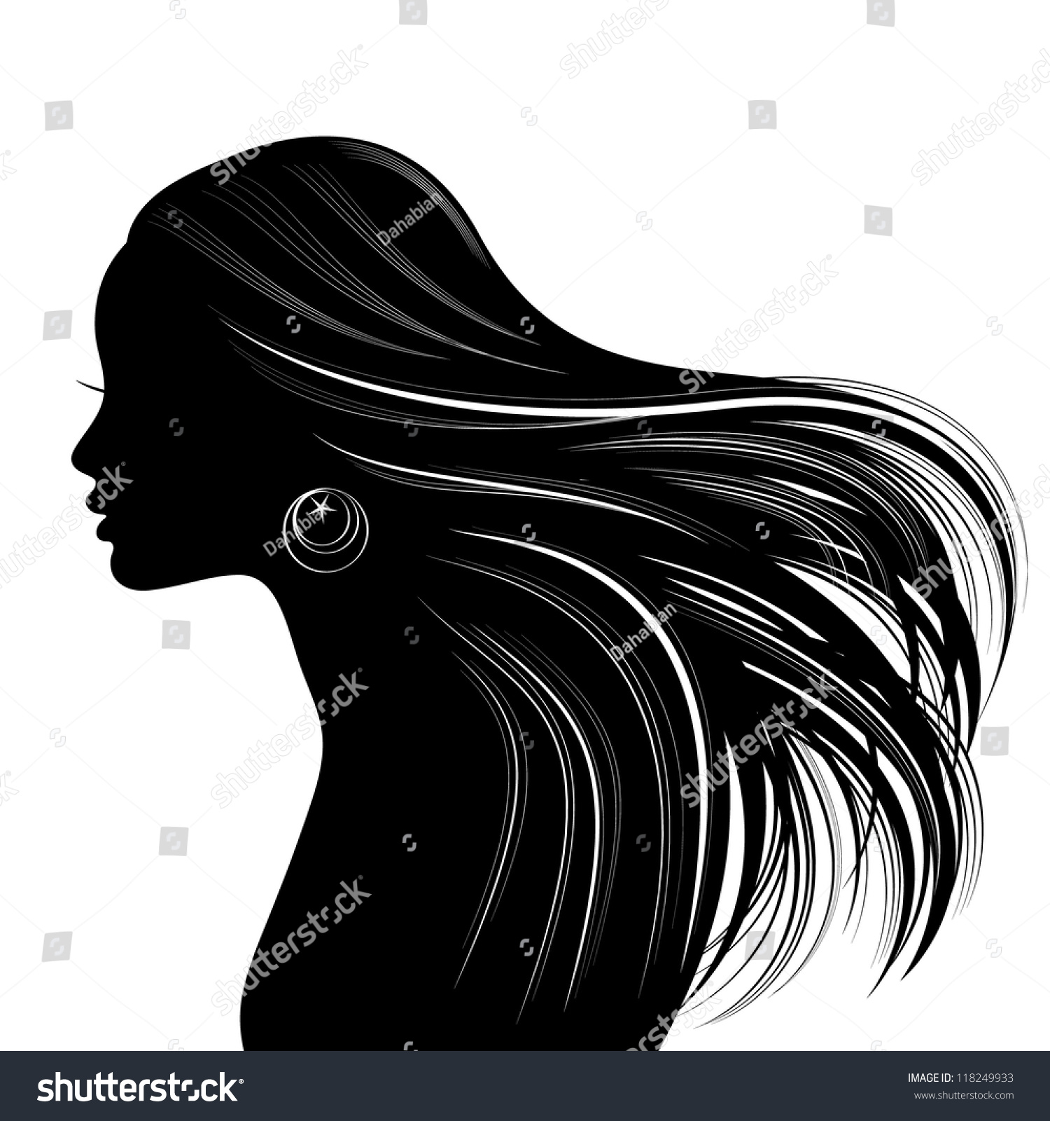 hairstyles for medium length natural hair : Hairstyle Silhouette Woman hair style silhouette. raster version stock ...