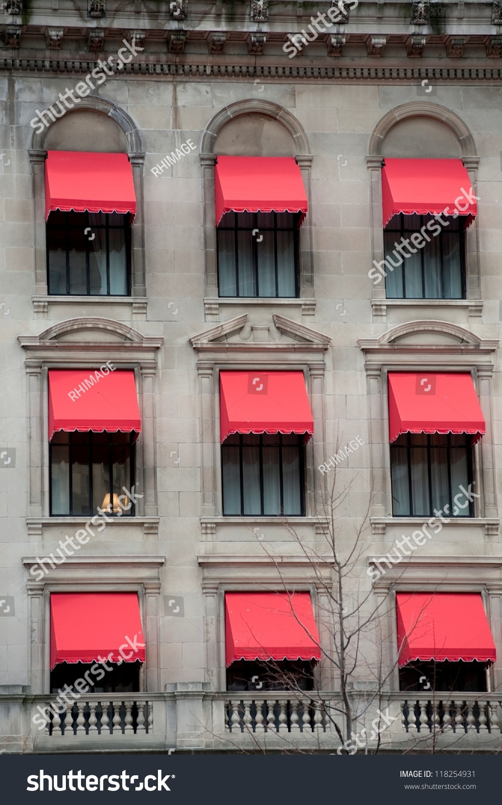 red awnings on building boston massachusetts stock photo 118254931