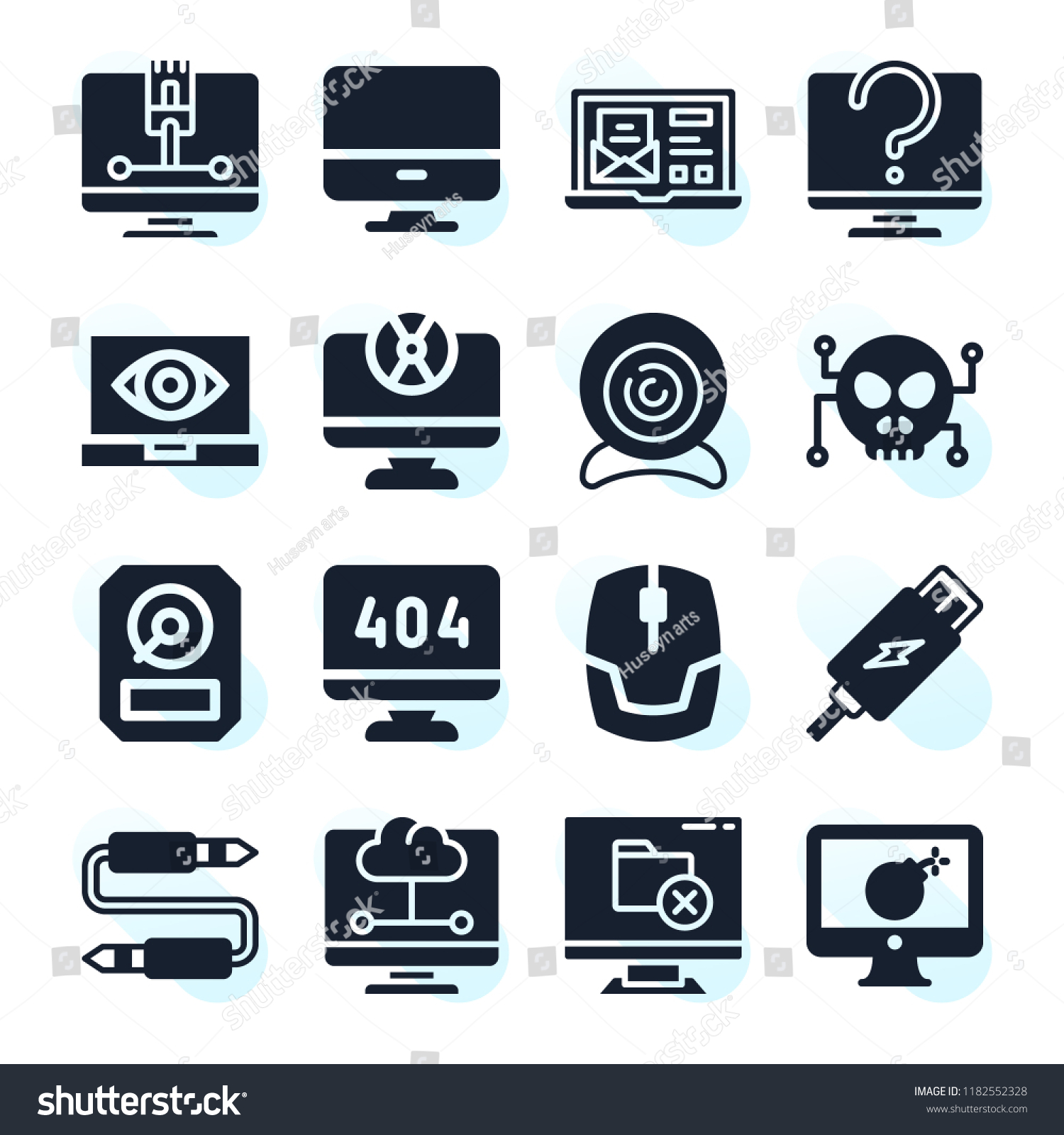 Set 16 Computer Filled Icons Such Stock Illustration 1182552328