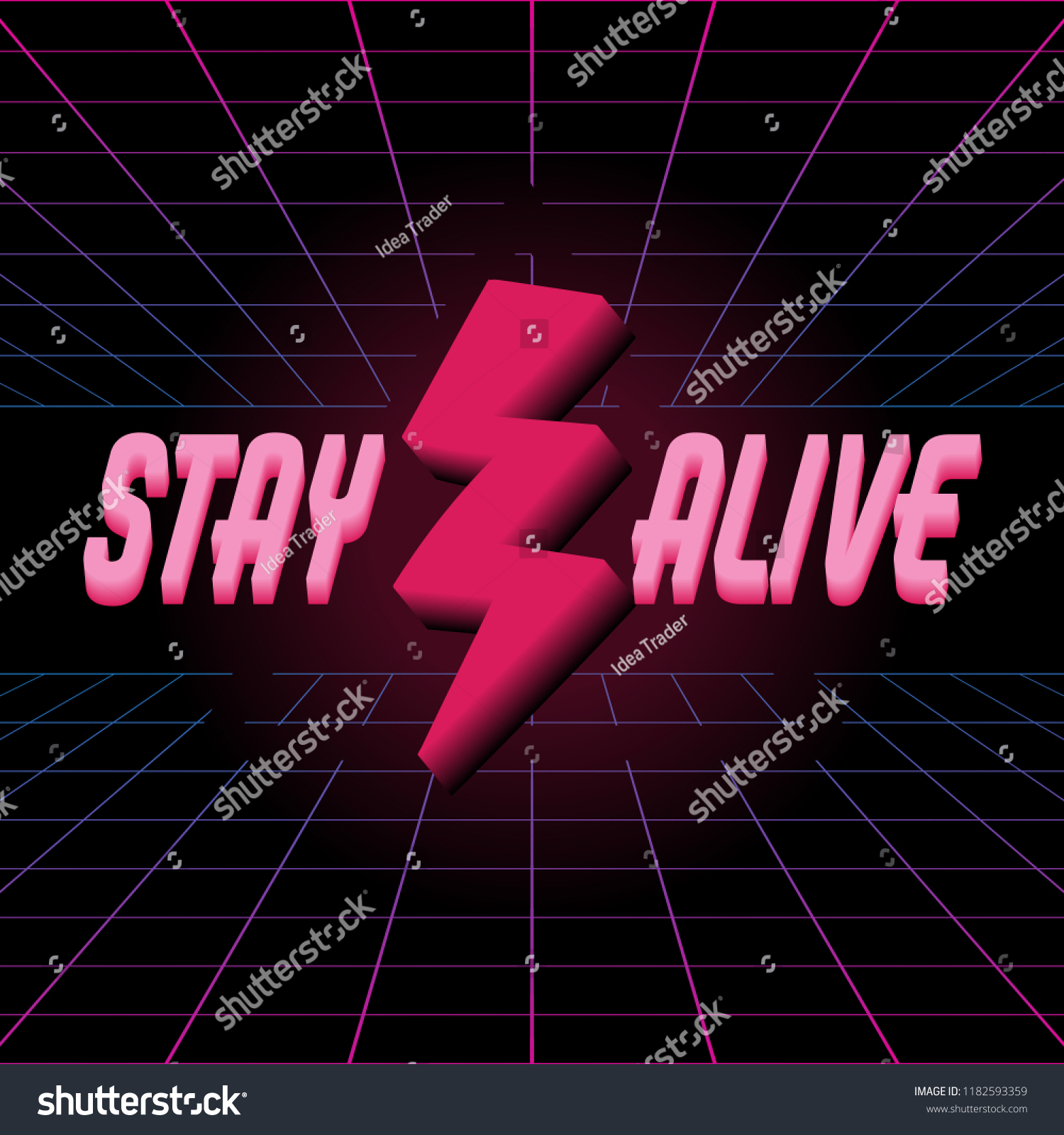 stay alive vector poster neon inscription stock vector royalty free