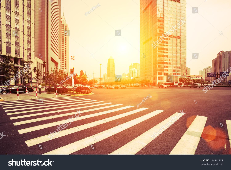 stock photo avenue in modern city 118261138 - asdasd