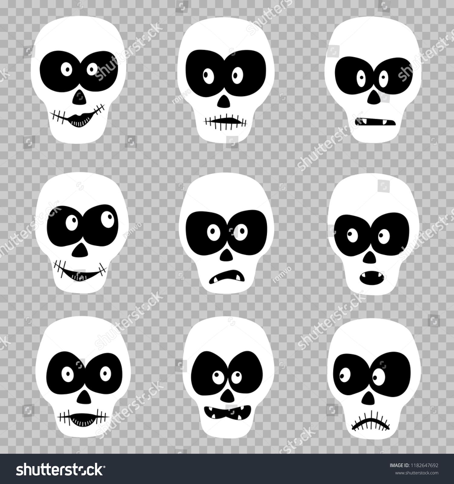 Cartoon Day Dead Masks Skull Set Stock Vector Royalty Free