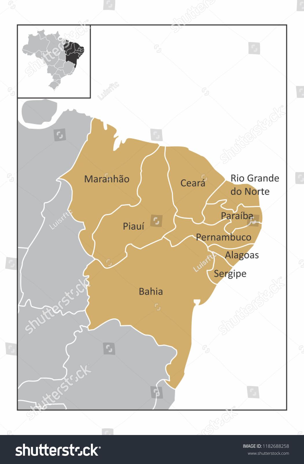 Picture of: Ilustracion De Stock Sobre Map Northeast Region Brazil Identified States 1182688258