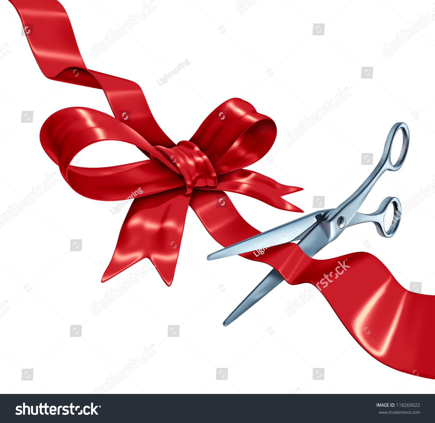 Bow And Ribbon Cutting With A Red Silk Gift Wrapping ...