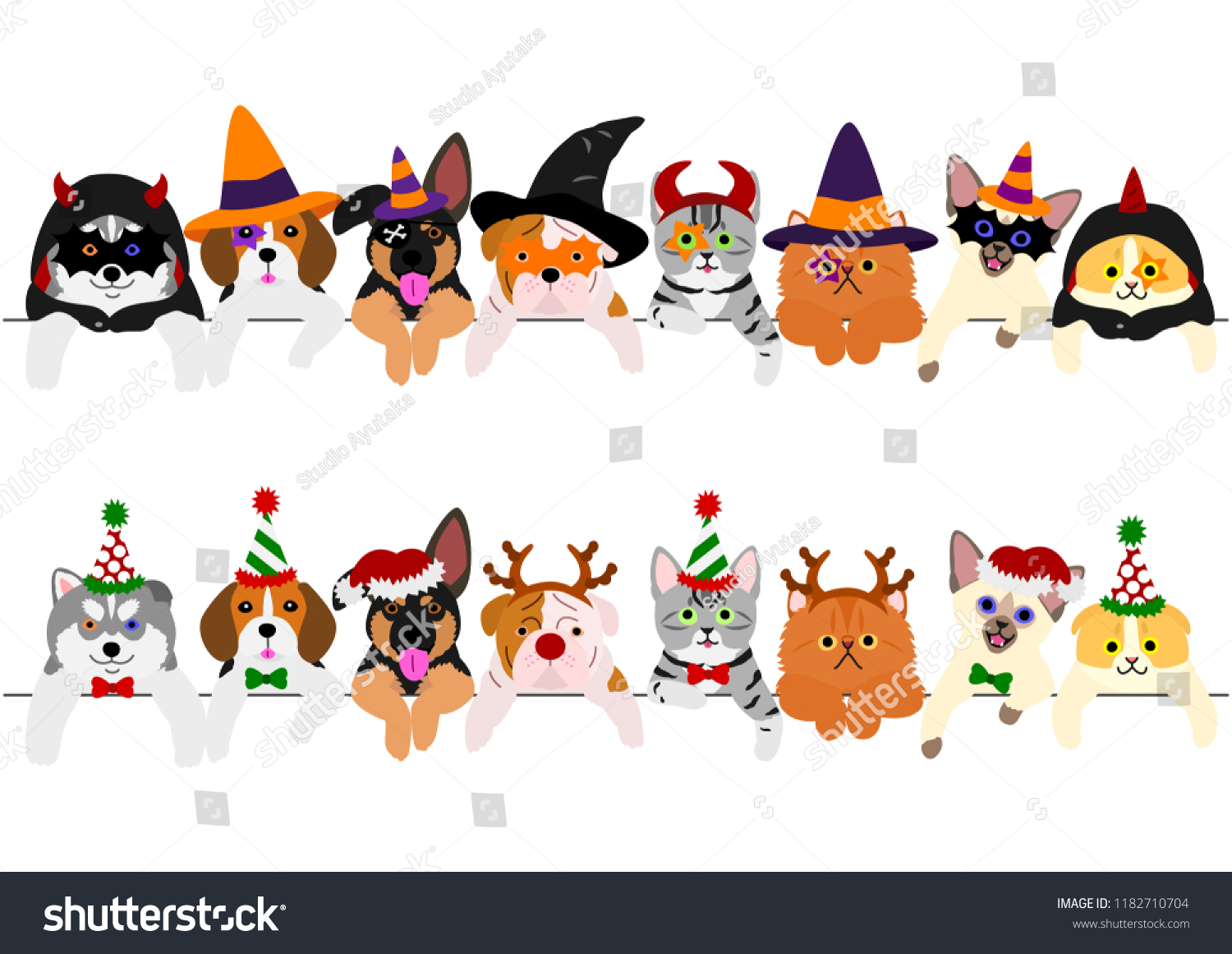 Cute Puppies Kitties Border Set Halloween Stock Vector Royalty Free