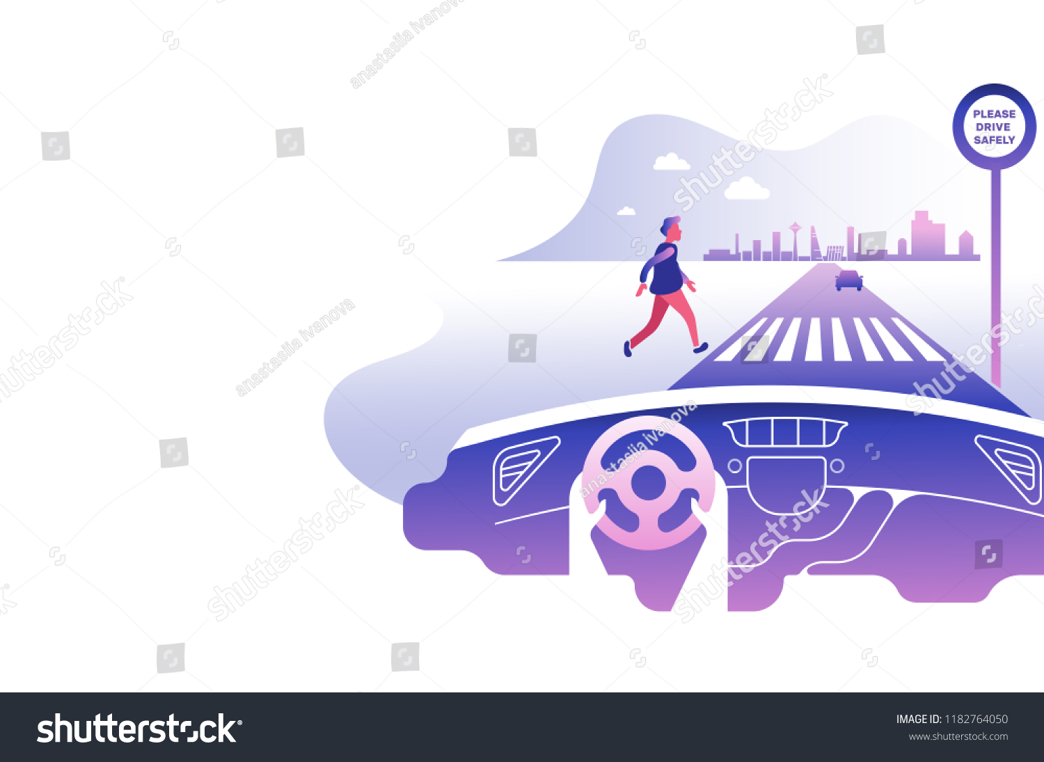 Dashboard car and driver.Hands driving a car on the highway. Drive safely warning billboard.Flat vector illustration. Car on asphalt road with speed limit on highway car interior.Gradient background