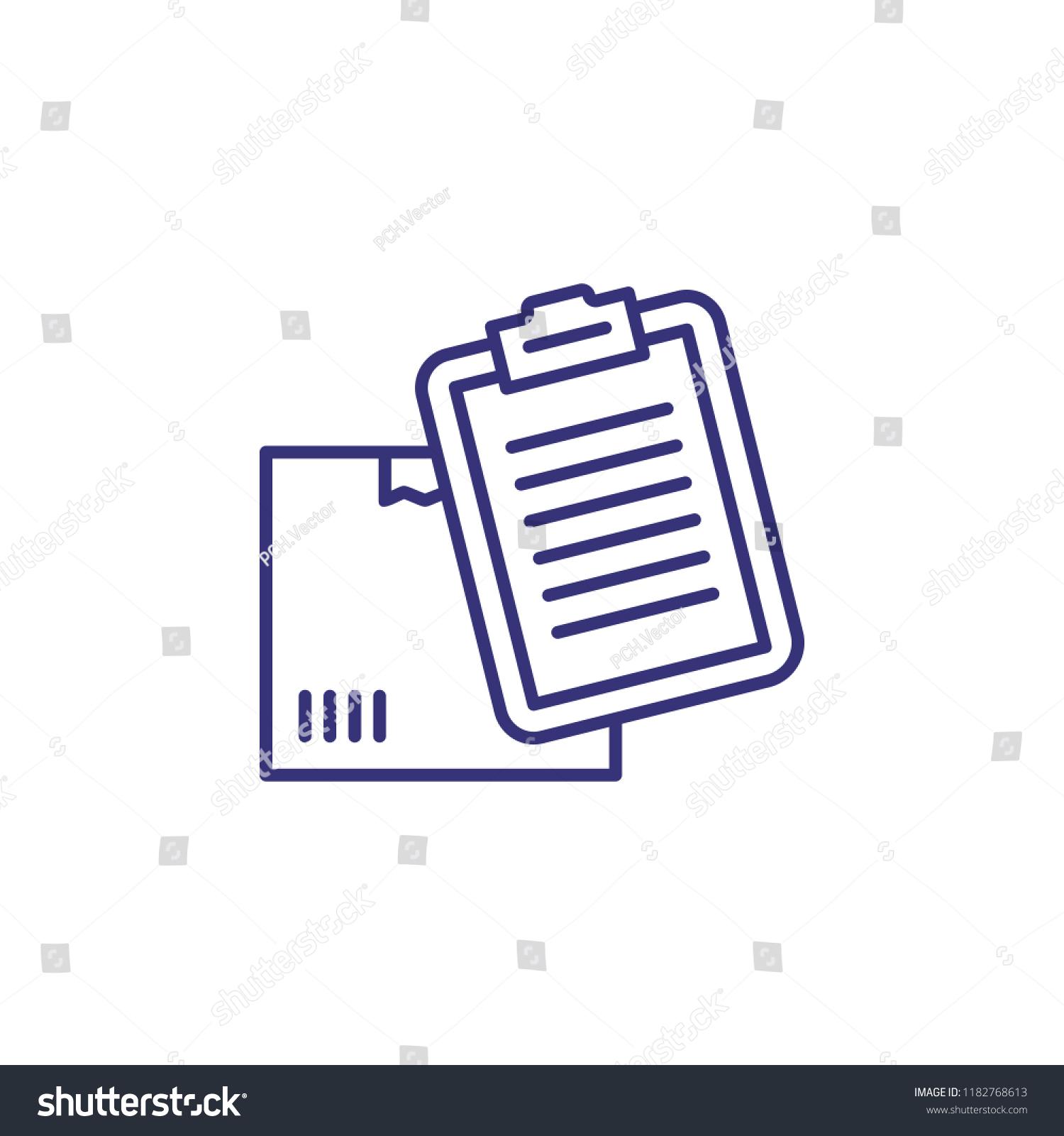 Report Line Icon Box Parcel Checklist Stock Vector (Royalty Free