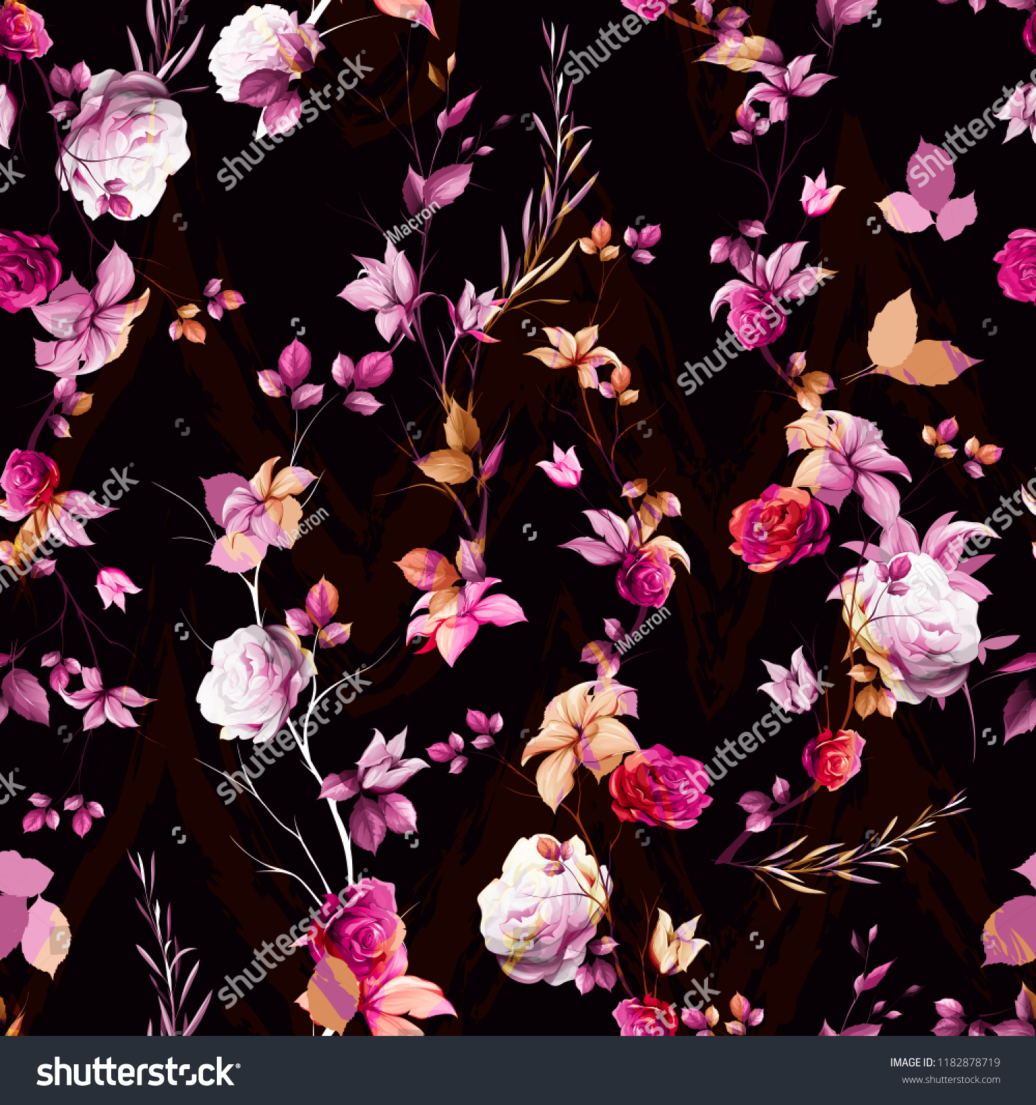 Stylized Seamless Floral Background Pattern Abstract Stock Vector