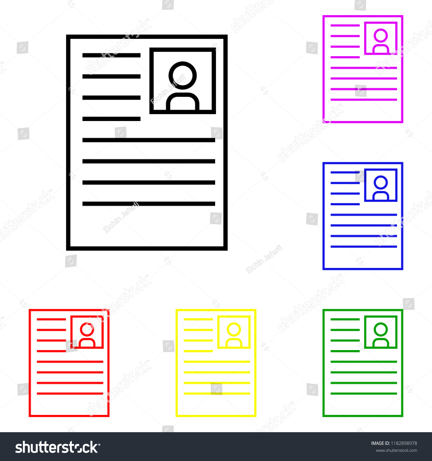 Element Curriculum Vitae Multi Colored Icons Stock Vector Royalty