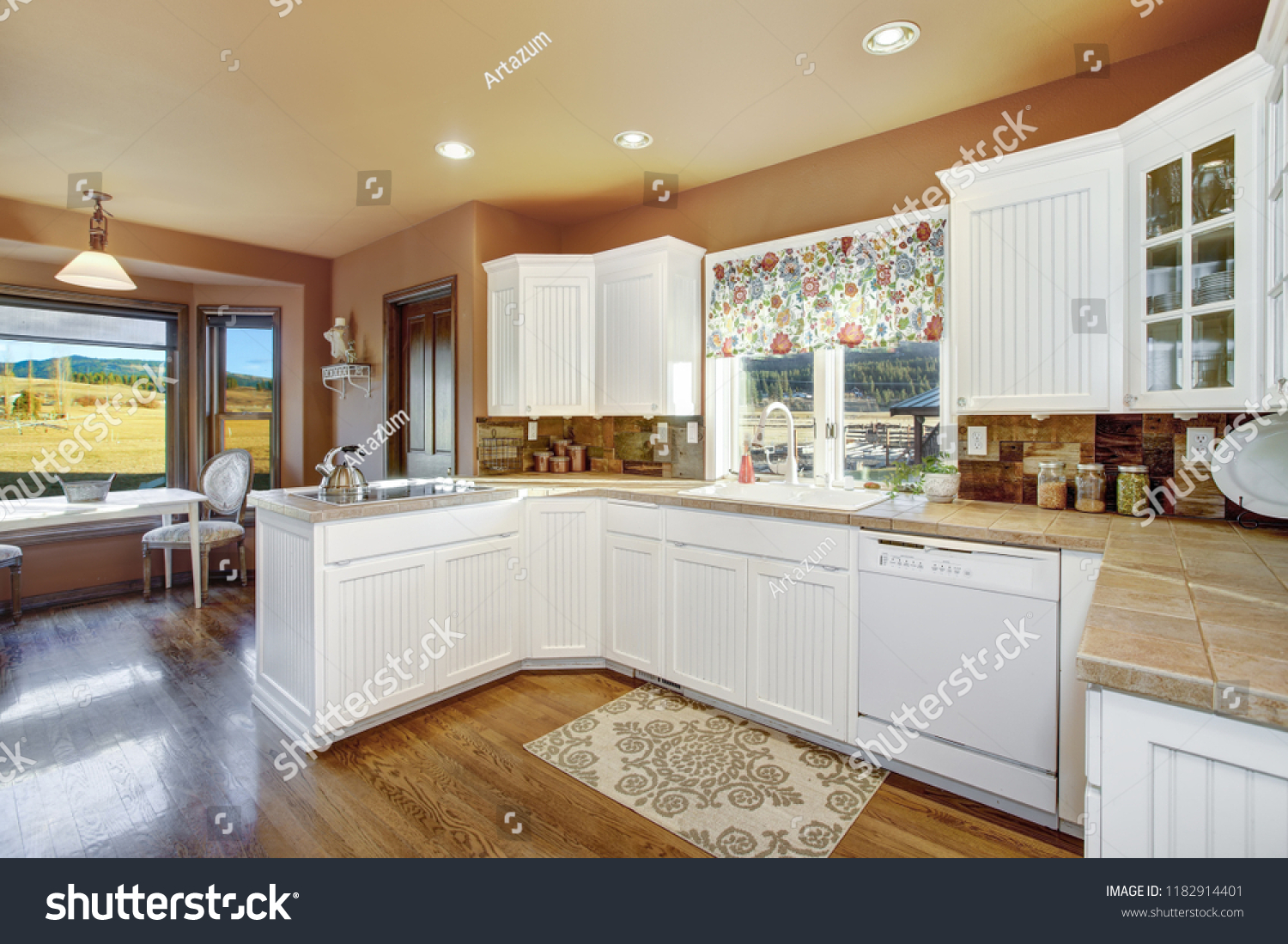 Country Kitchen Features White Cabinets Tile Buildings Landmarks