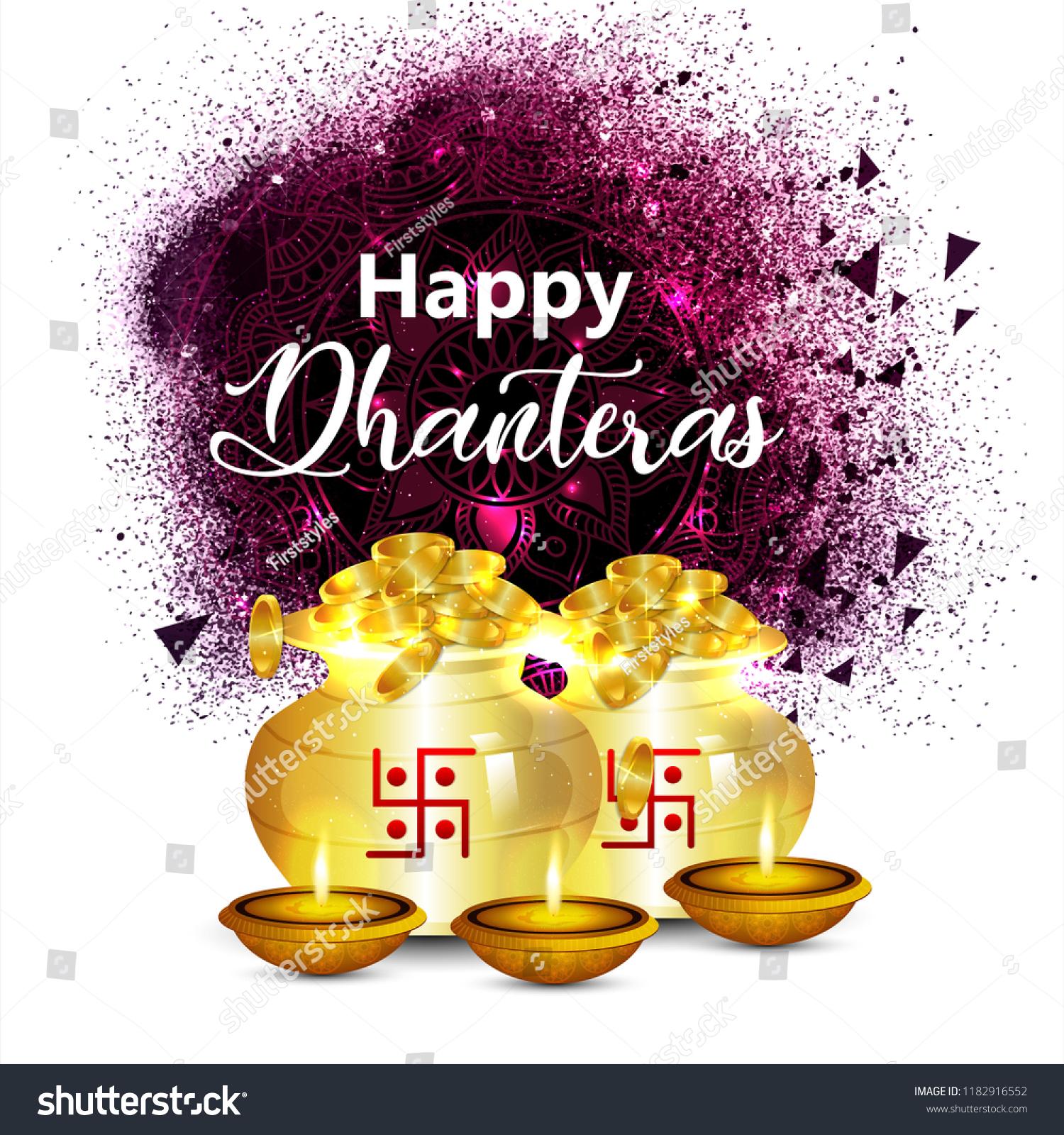 Creative Background Dhanteras Festival India Greeting Stock Vector