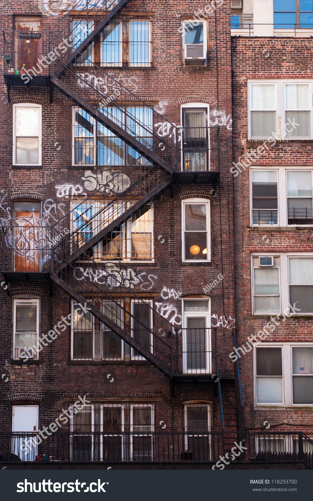 new york apartments buildings. Stock photo back side of a brick apartment building in manhattan showing  the fire escape and Old New York Apartment Upper East Side Manhattan