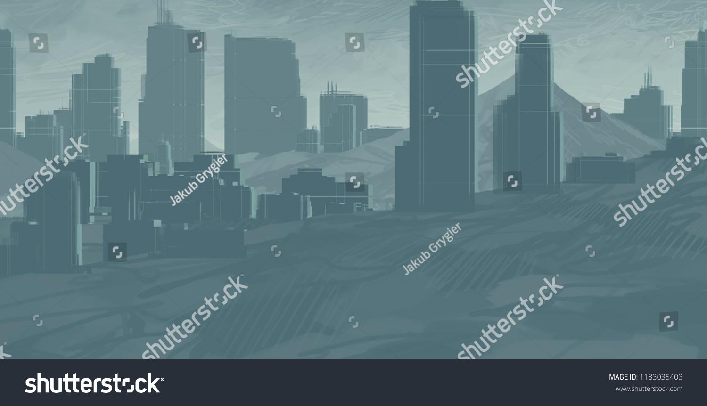 2d Illustration Skyscraper City Metropolis Digital Stock