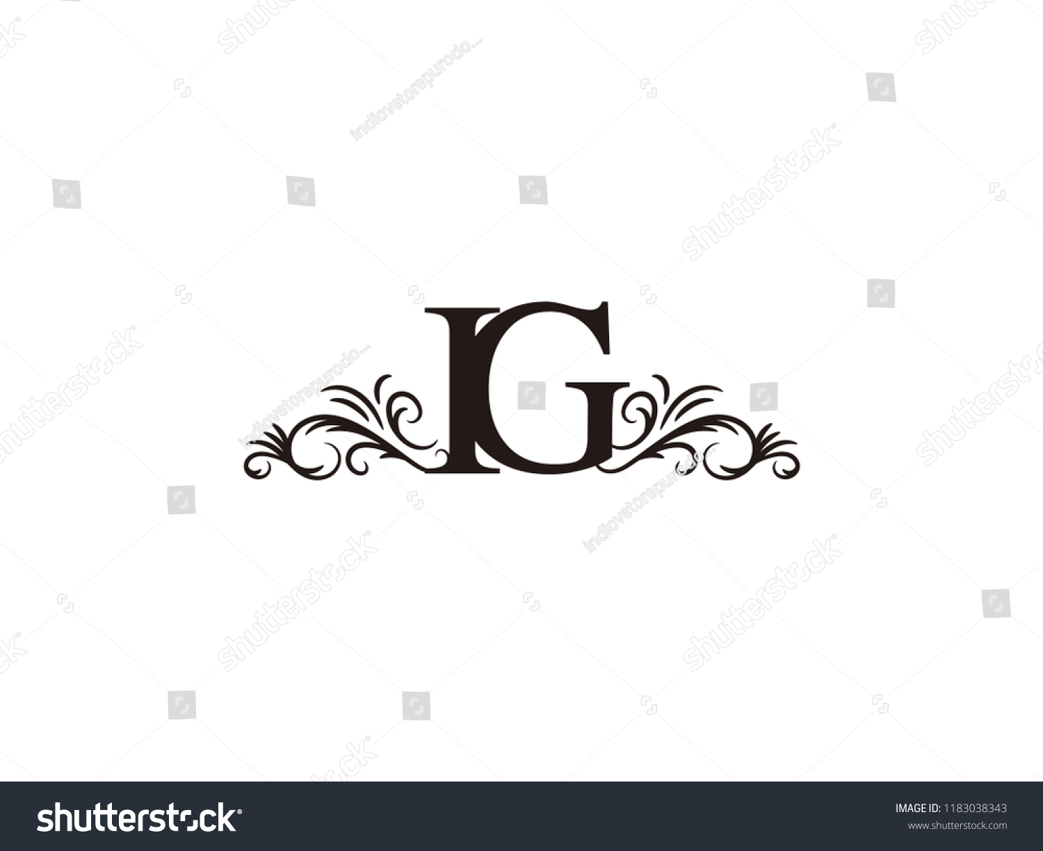 vintage initial letter logo ig couple wedding name