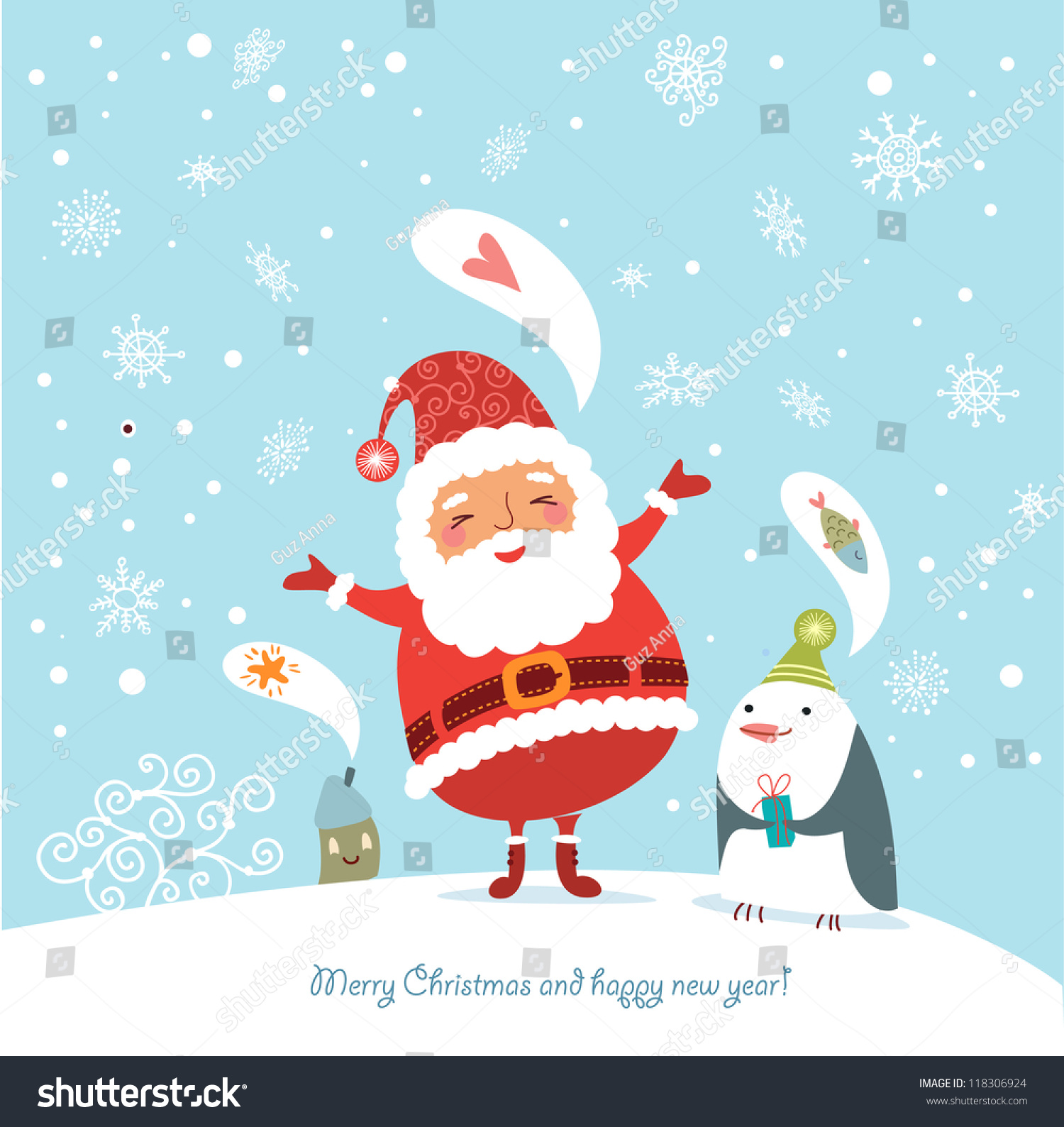 Christmas Card Picture Funny Cute Christmas Card Stock Vector 118306924 Shutterstock