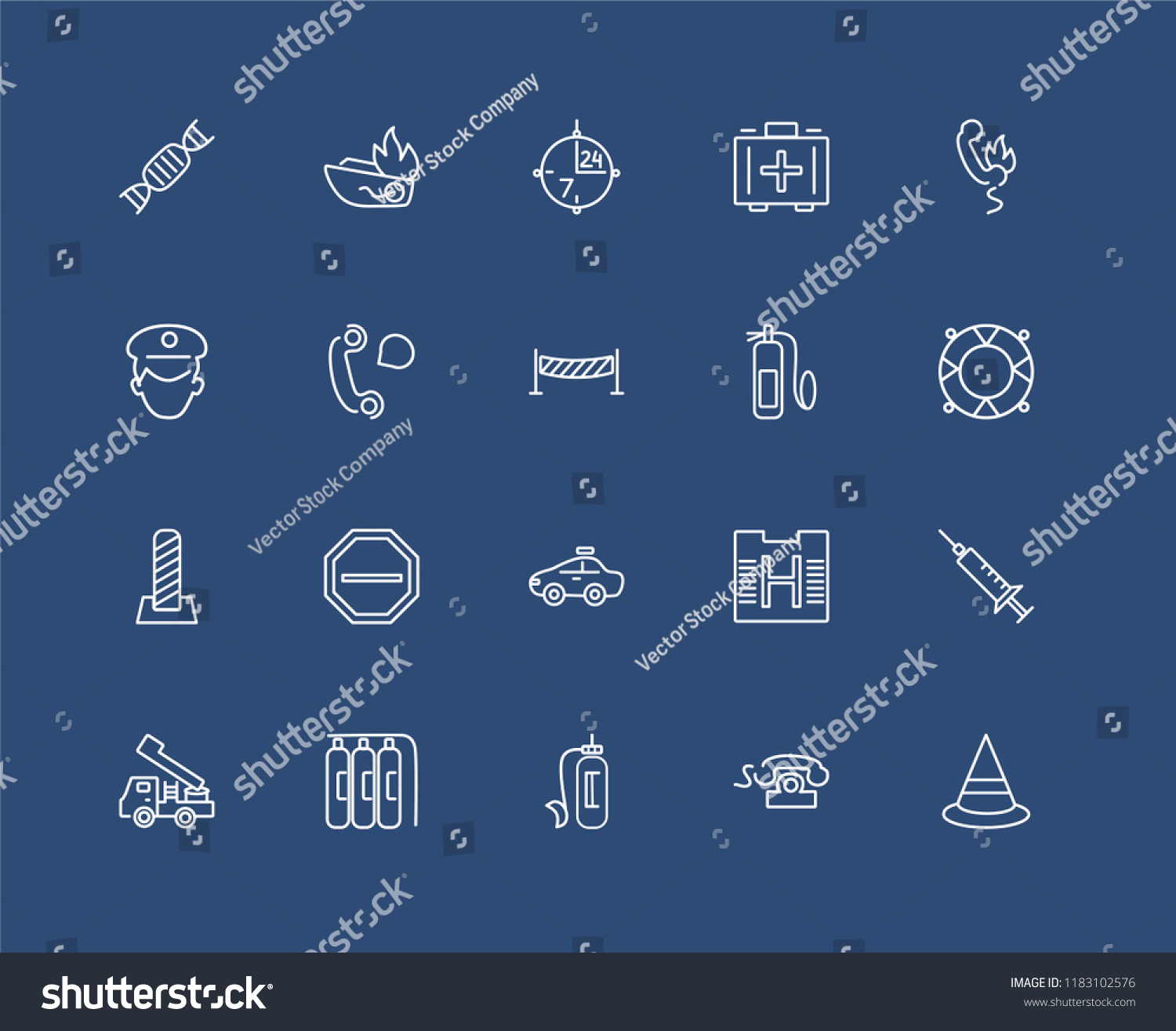 Set 20 Black Linear Icons Such Stock Vector Royalty Free Fire Truck Schematic Of As Cone Call Oxygen