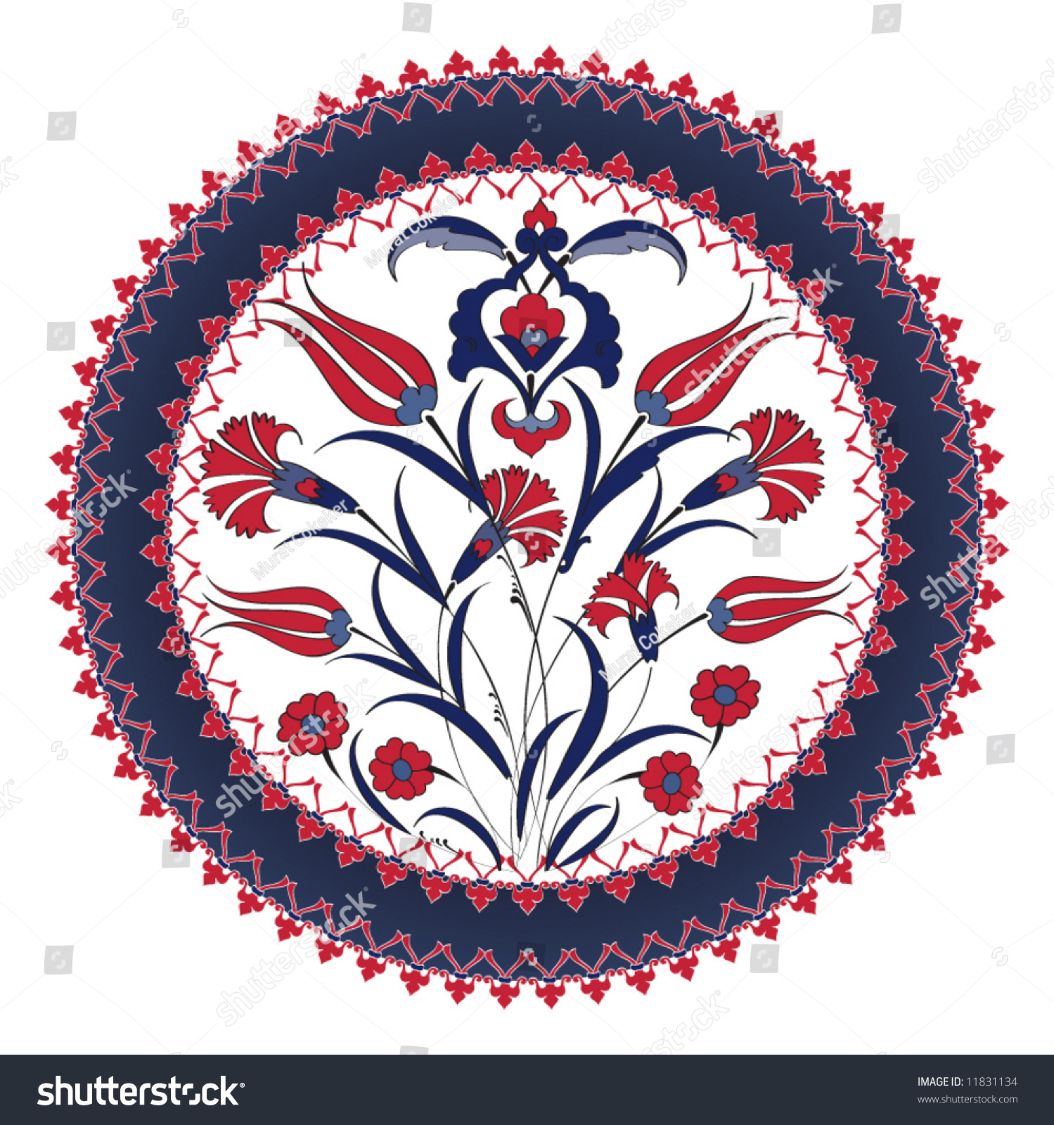 Traditional Turkish Ottoman Red Flower Home Decor Mosaic: Traditional Ottoman Turkey Turkish Vintage Tulip Stock
