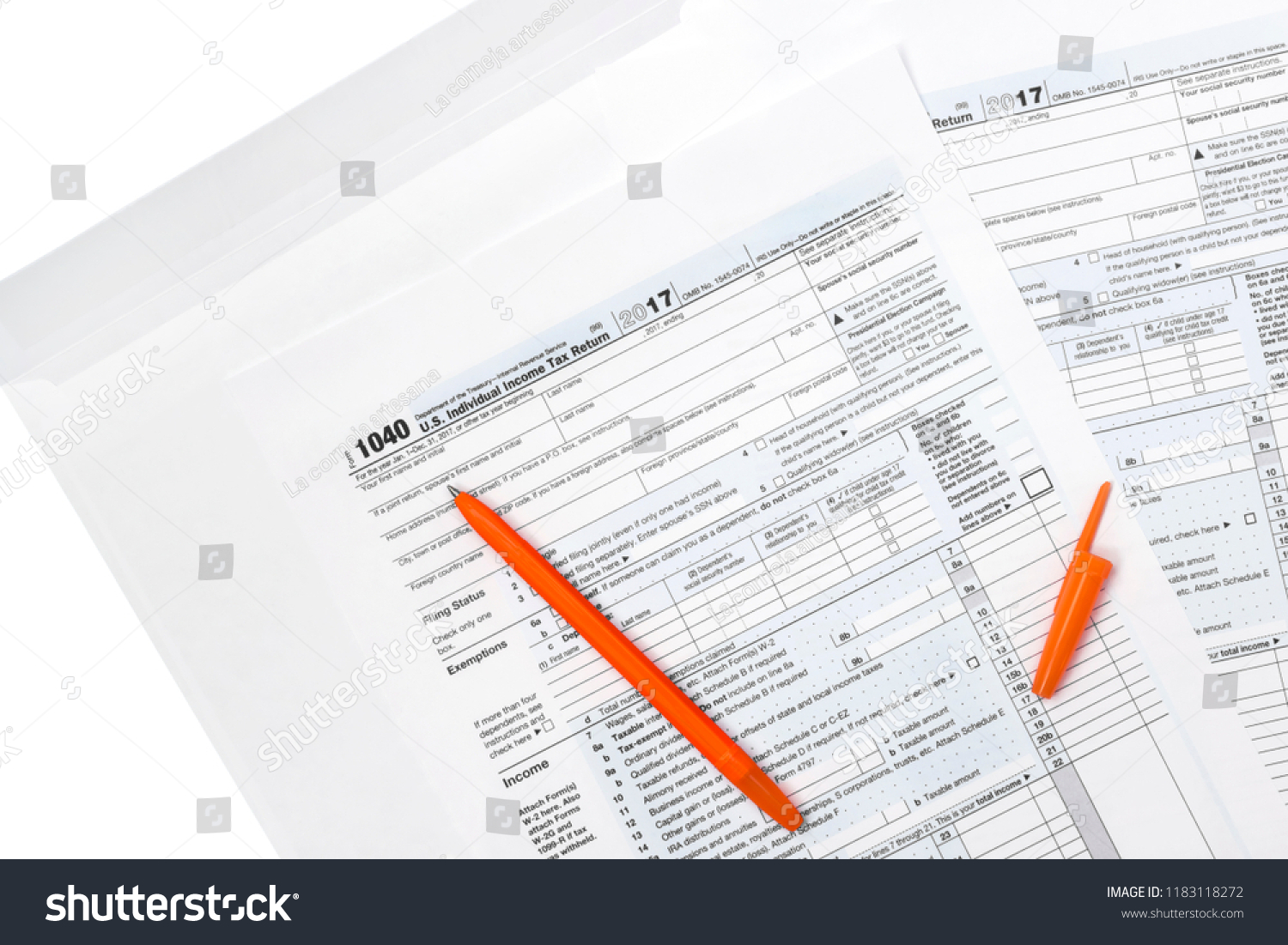 Overhead Photo Income Irs Tax Form Stock Photo (Edit Now) 1183118272