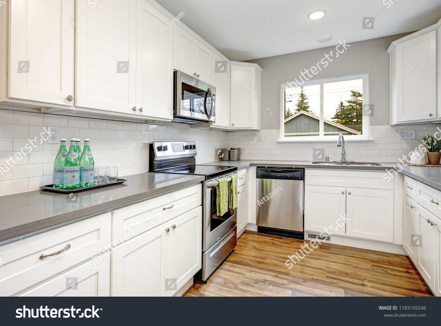 White Gray Kitchen Room Modern Stainless Stock Photo Edit Now 1183169248