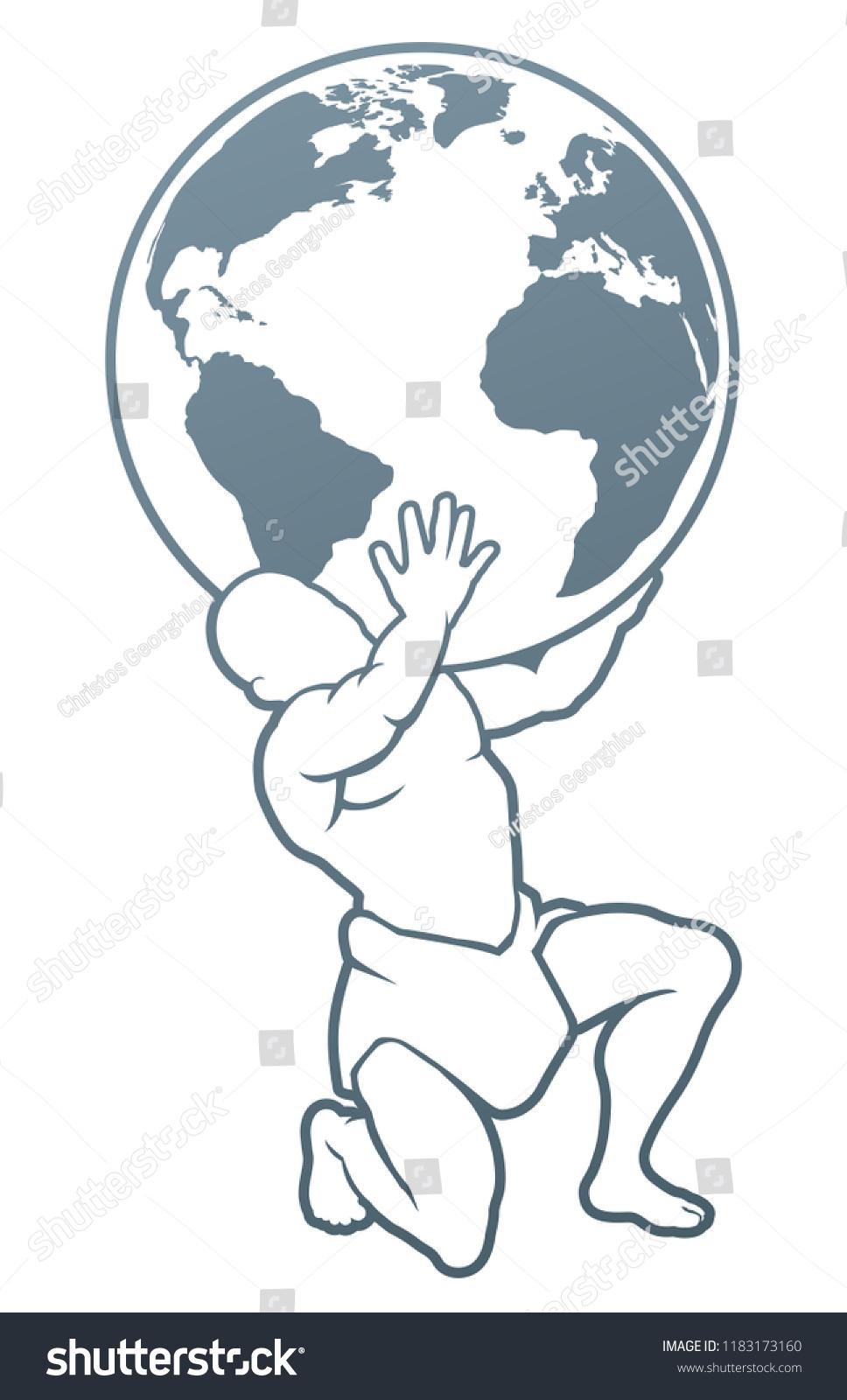 Atlas Titan Holding Globe Symbol Strength Stock Vector Royalty Free