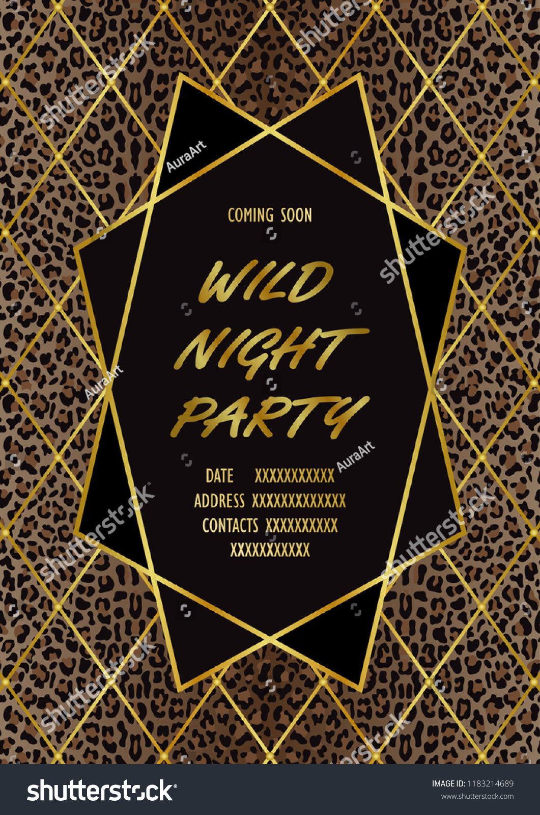 Wild Party Invitation Card Leopard Print Stock Vector Royalty Free