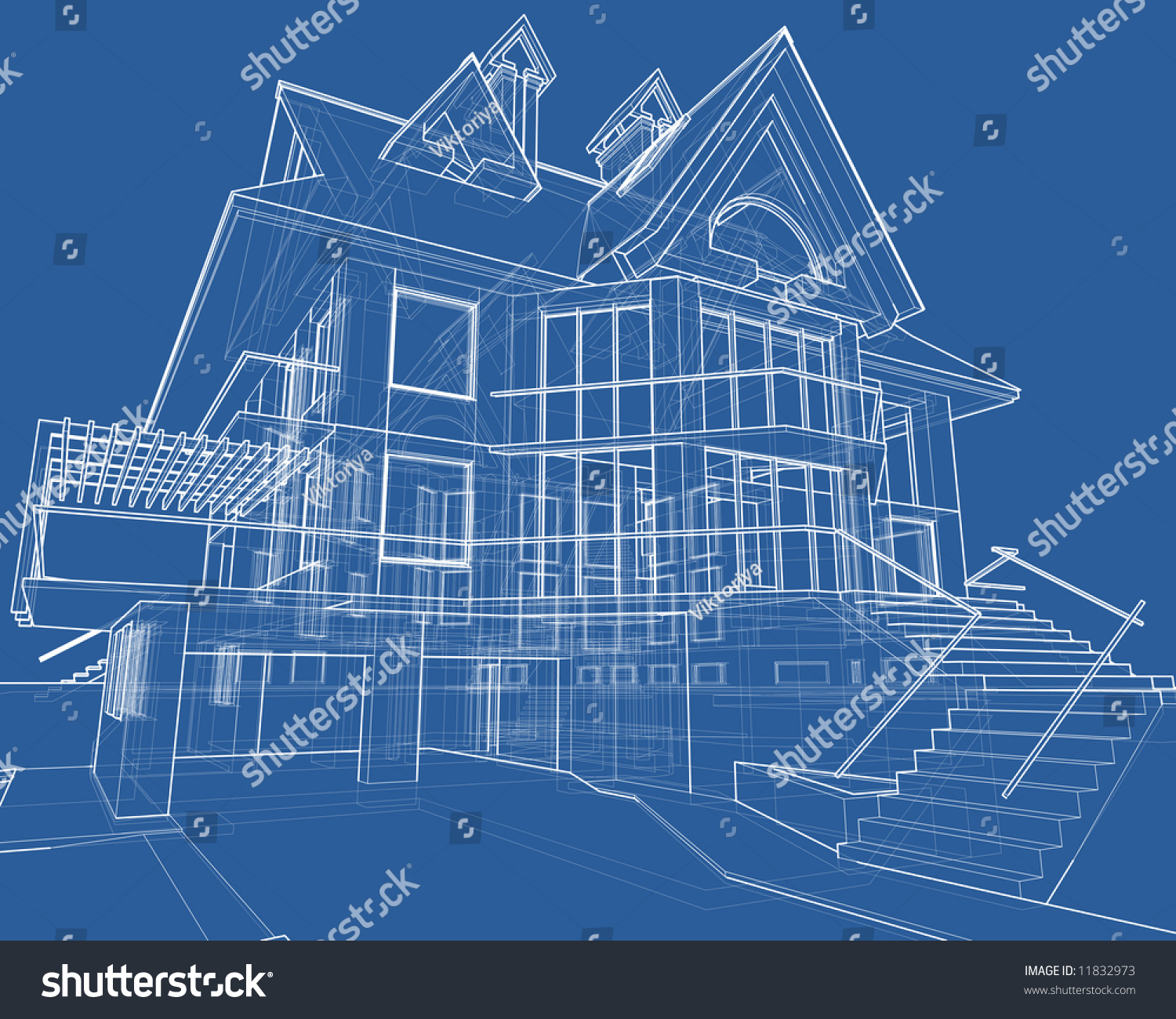 House blueprint 3d technical draw stock illustration for House blueprint images