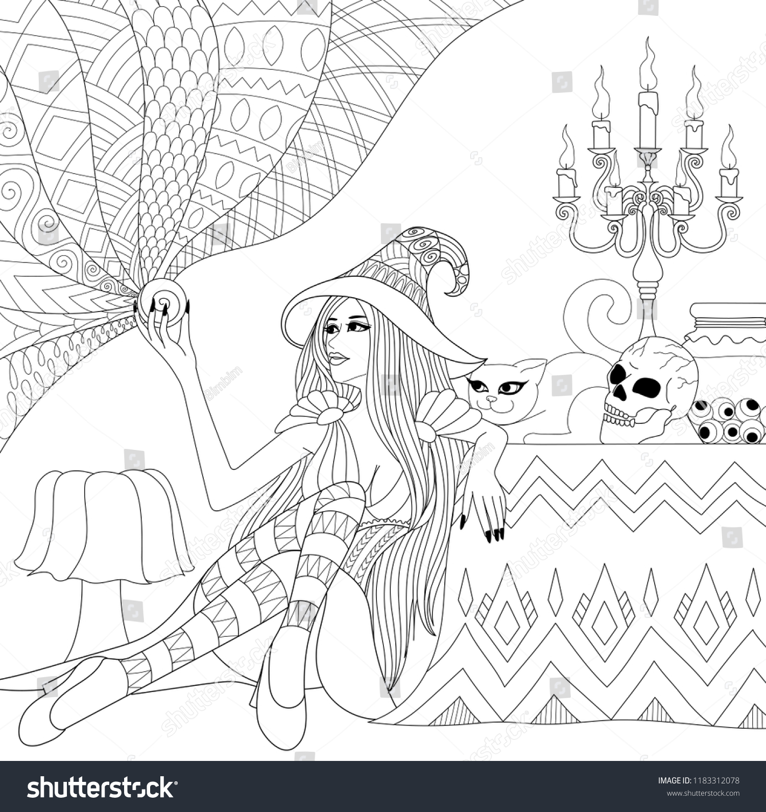 Colouring Pages Coloring Book Adults Teen | Holidays Stock Image