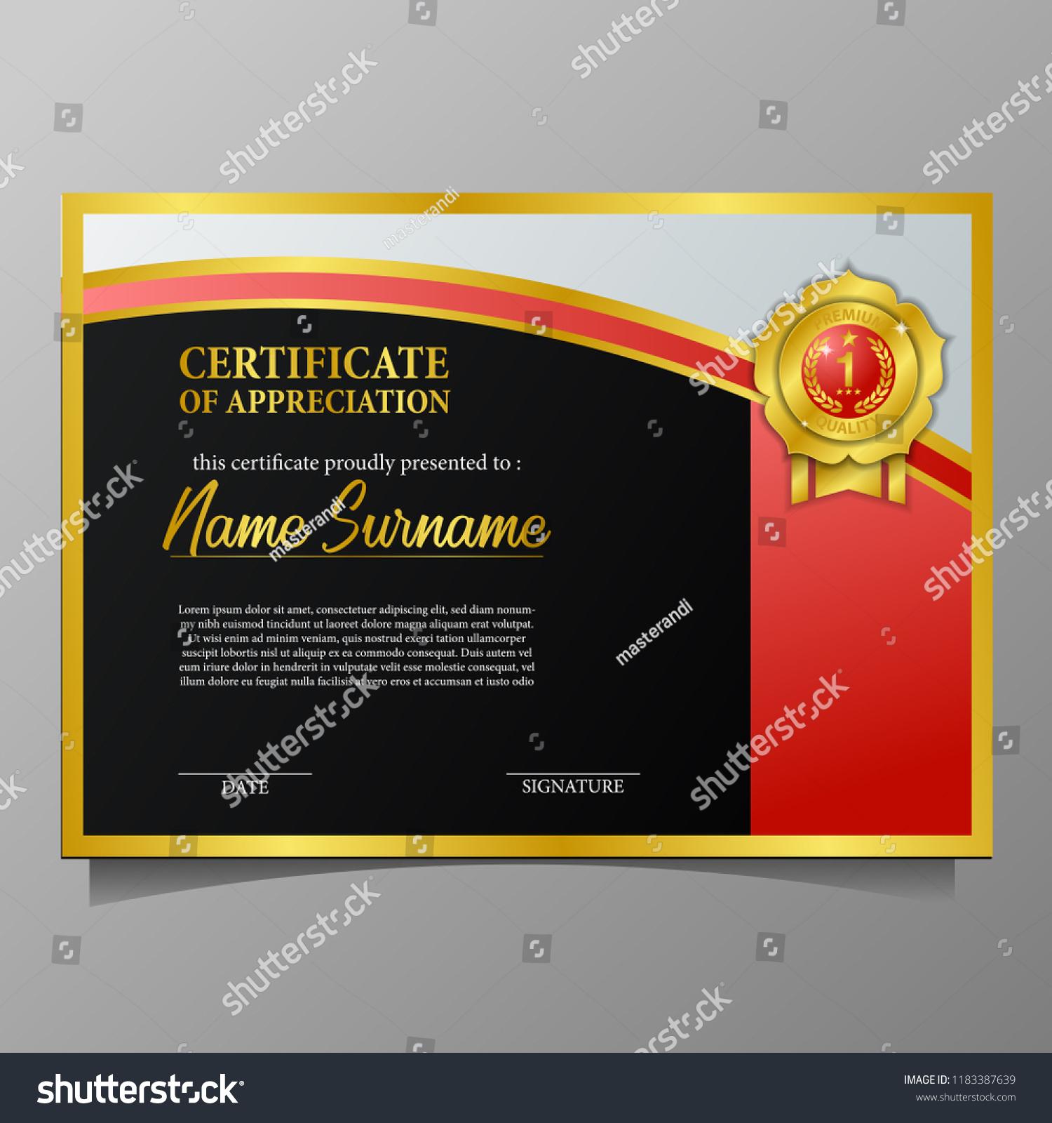 Beauty Elegant Certificate Template Brand Award Stock Vector