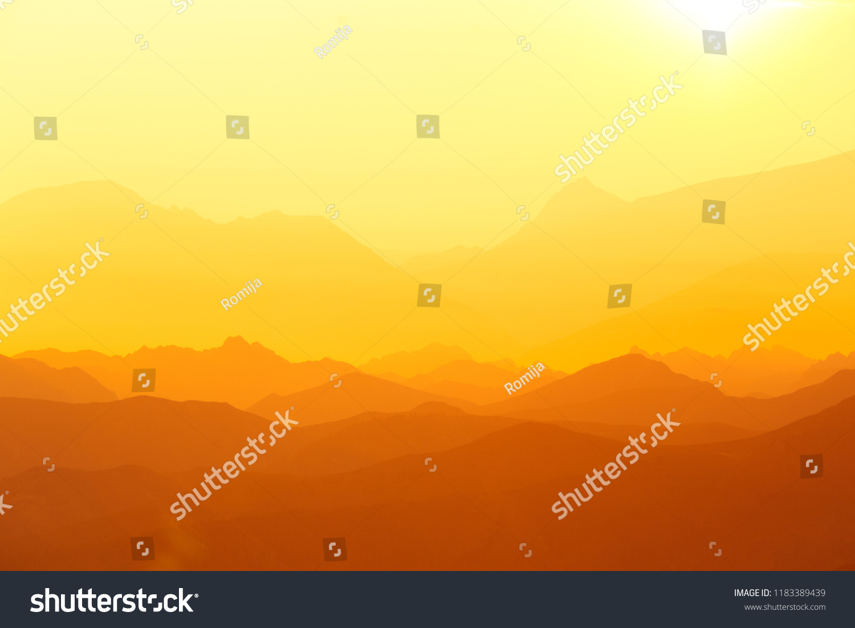 Beautiful Minimalist Landscape During Sunrise Over Stock