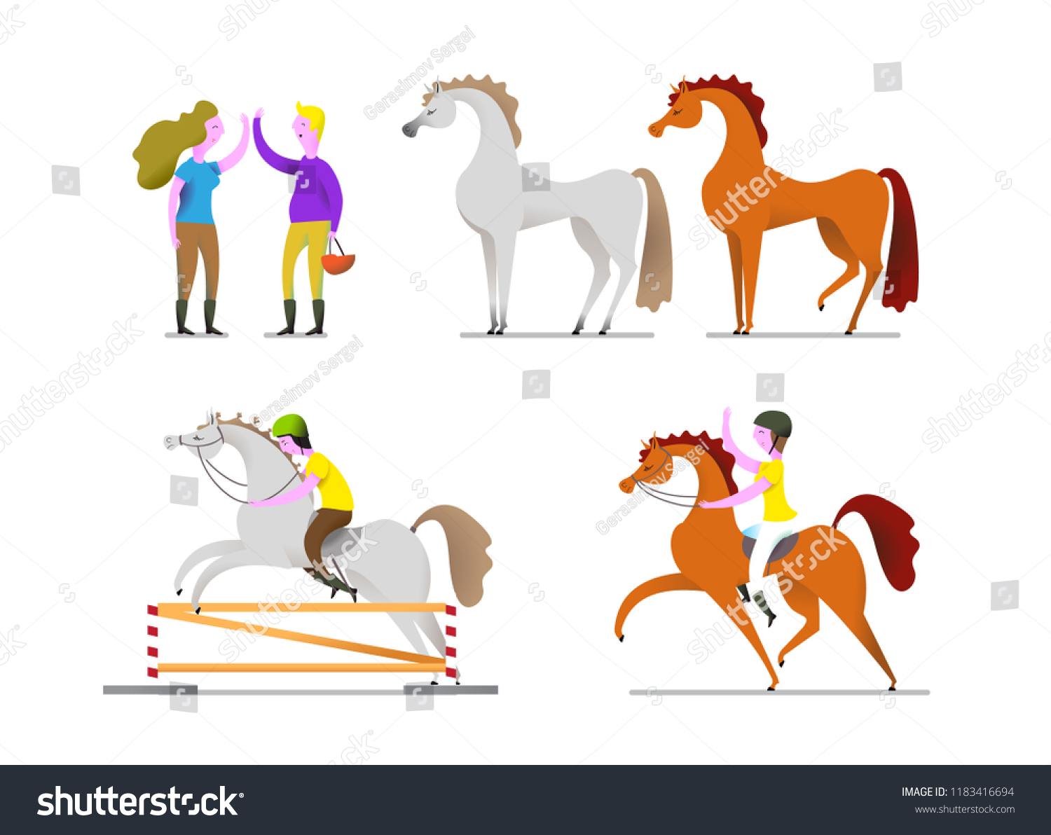 Horse Info Graphic Poster Design Cartoon Stock Vector Royalty Free 1183416694