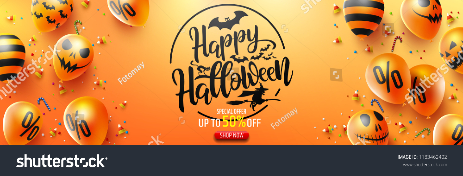 Halloween Sale Promotion Poster with Halloween candy and Halloween Ghost Balloons on Orange background.Scary air balloons.Website spooky or banner  template.Vector illustration EPS10 #1183462402
