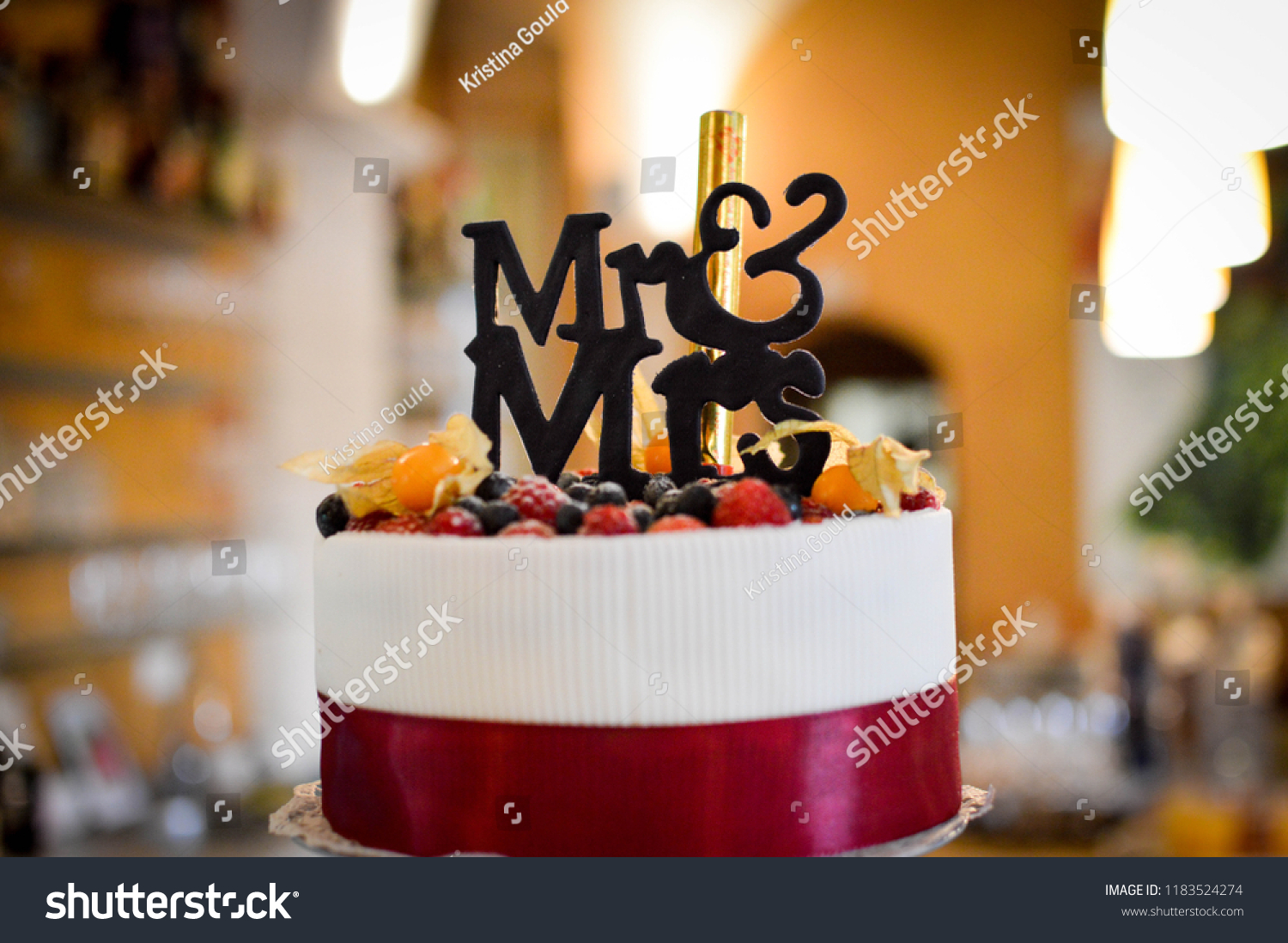 Mrmrs Funny Wedding Cake Fruits On Food And Drink Stock Image 1183524274