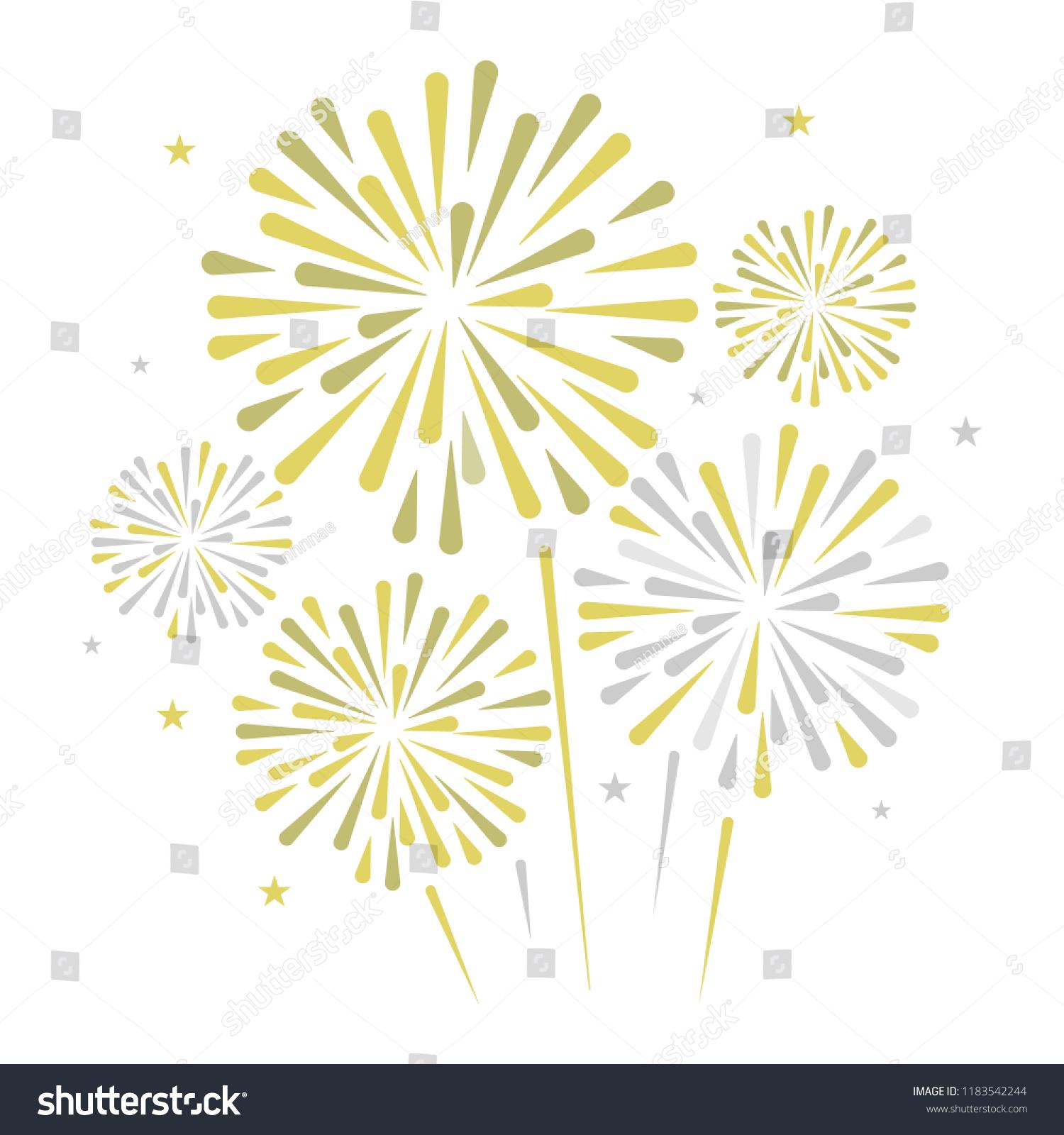 Gold Bright Firework On White Background Vector De Stock Libre De