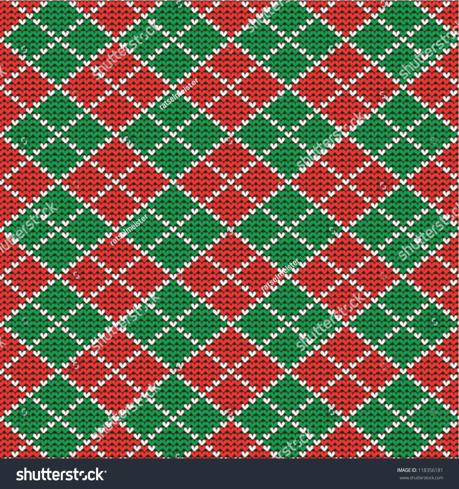 Pics photos merry christmas argyle twitter backgrounds - Knitted Red And Green Christmas Argyle Background Plus Seamless Pattern Included In Swatch Palette