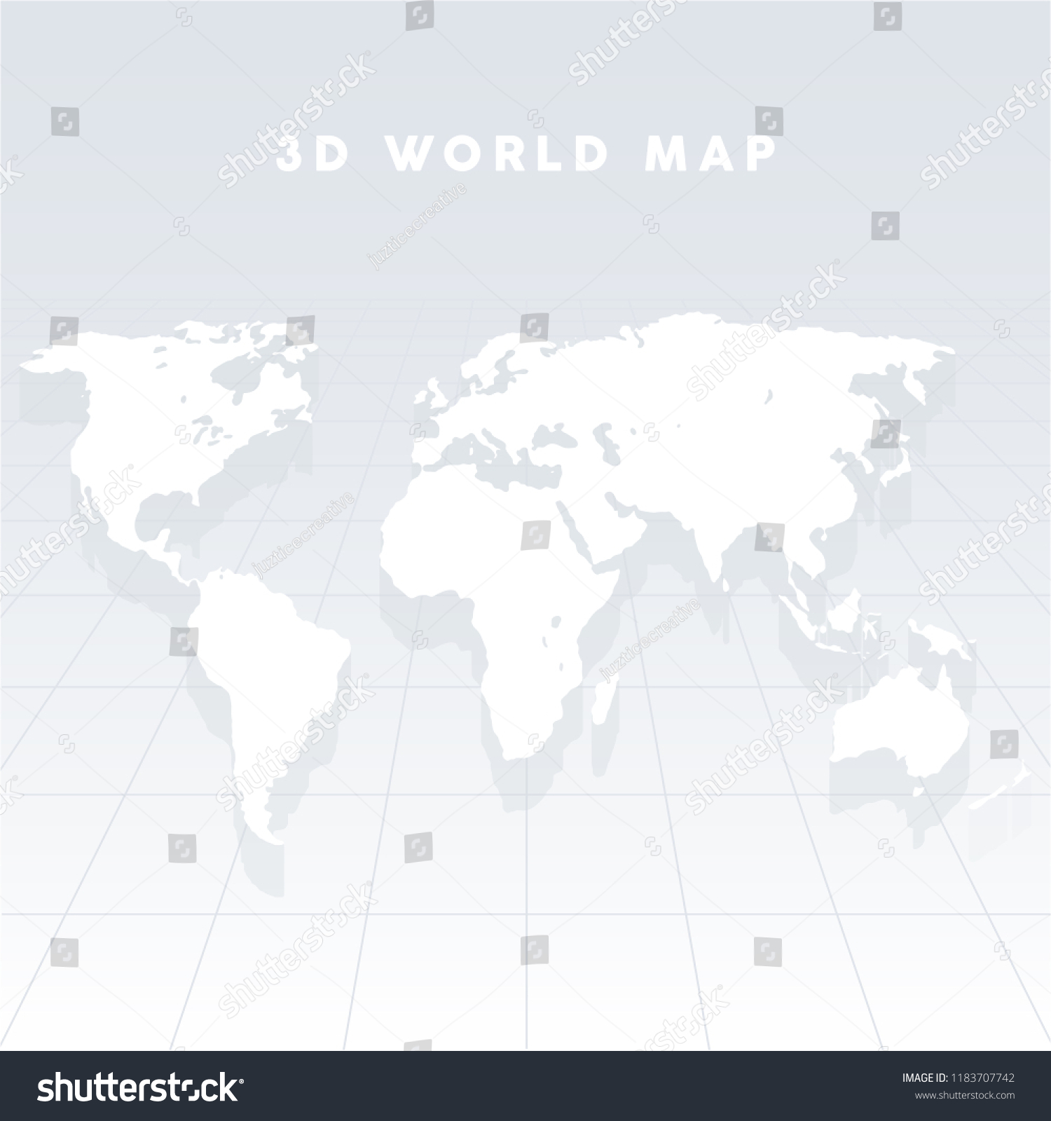 3 D Vector World Map On Grid Stock Vector Royalty Free 1183707742