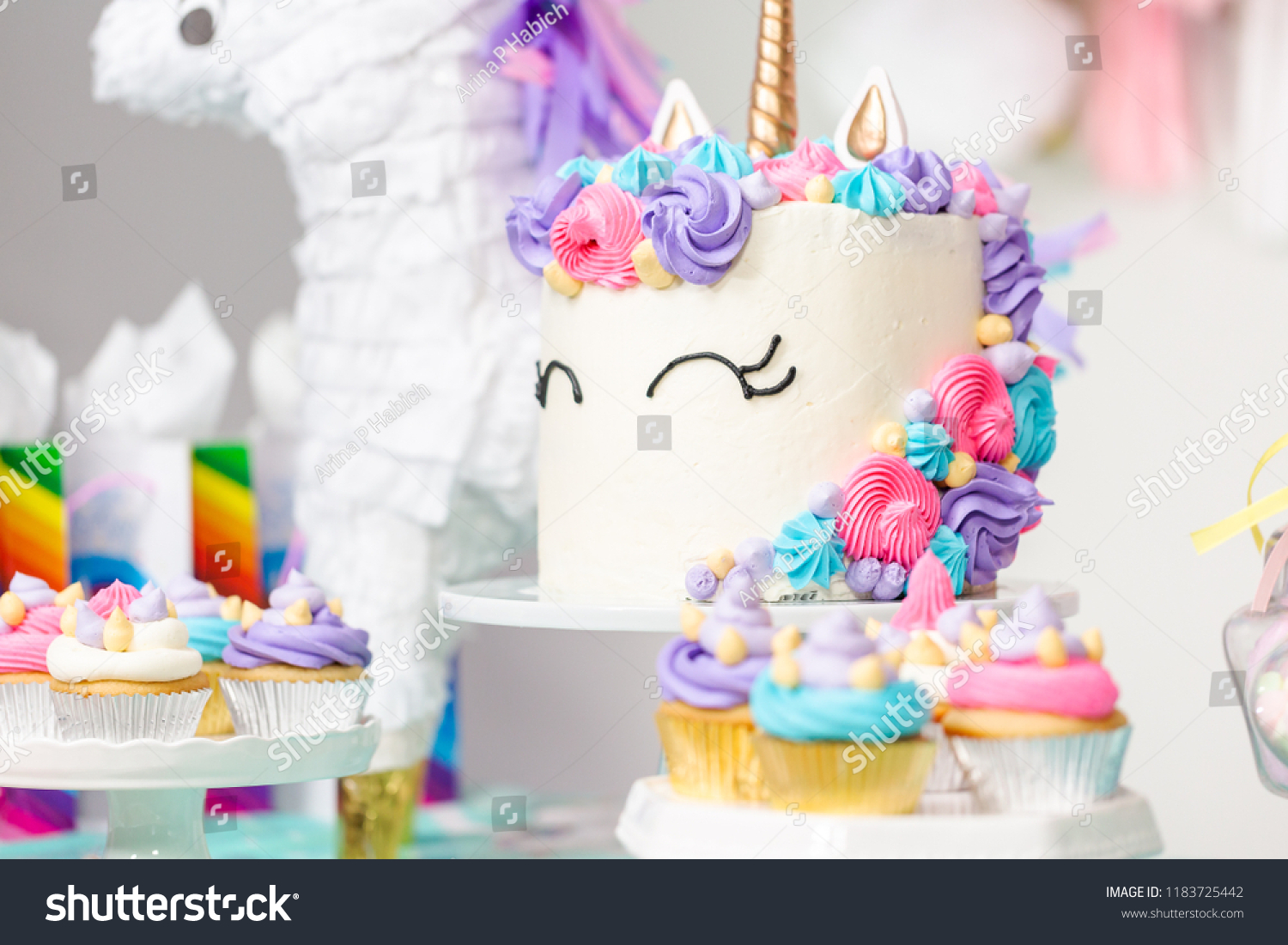 Little Girl Birthday Party Table Unicorn Stock Photo Edit Now