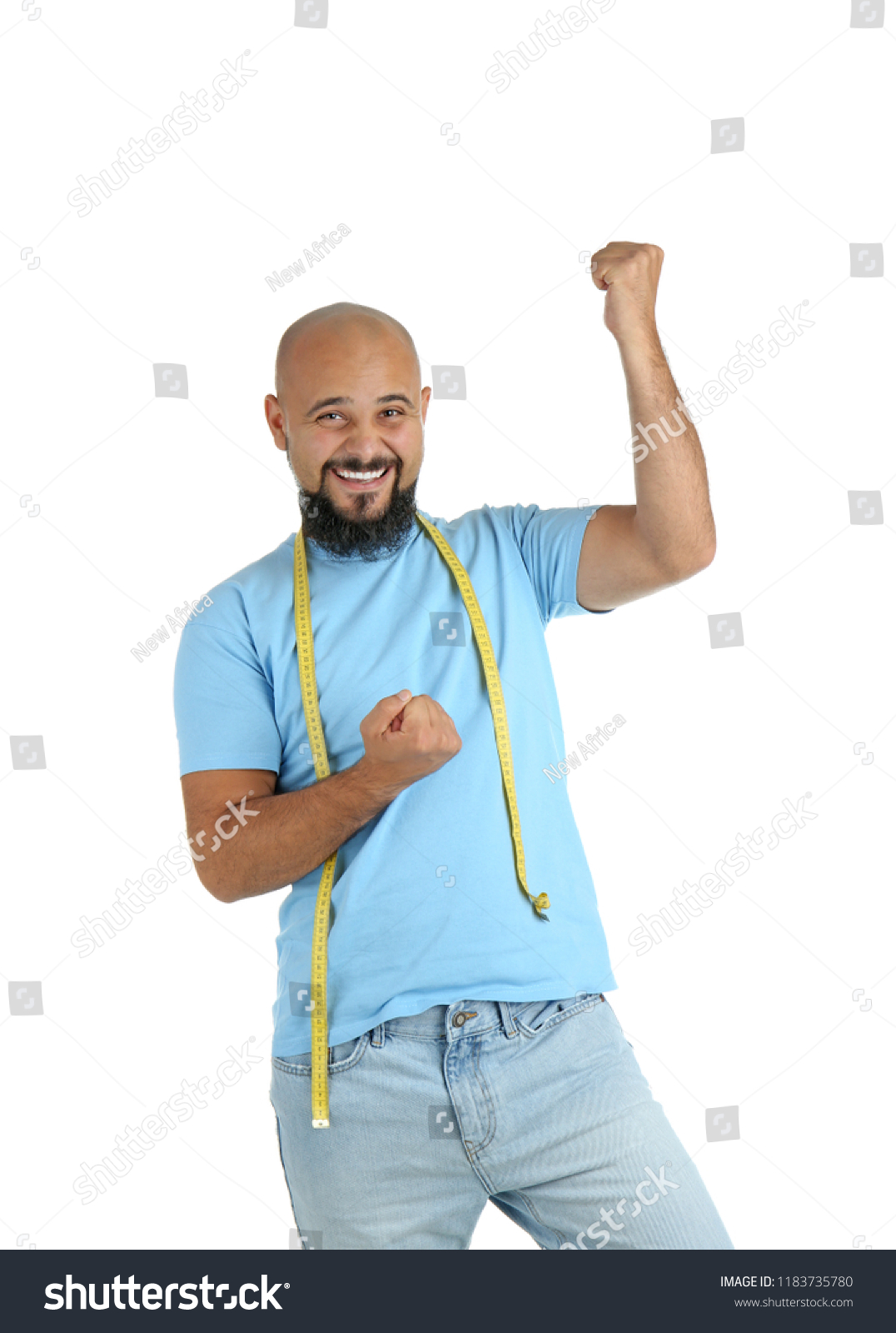 Overweight Man Measuring Tape On White Stock Photo Edit Now